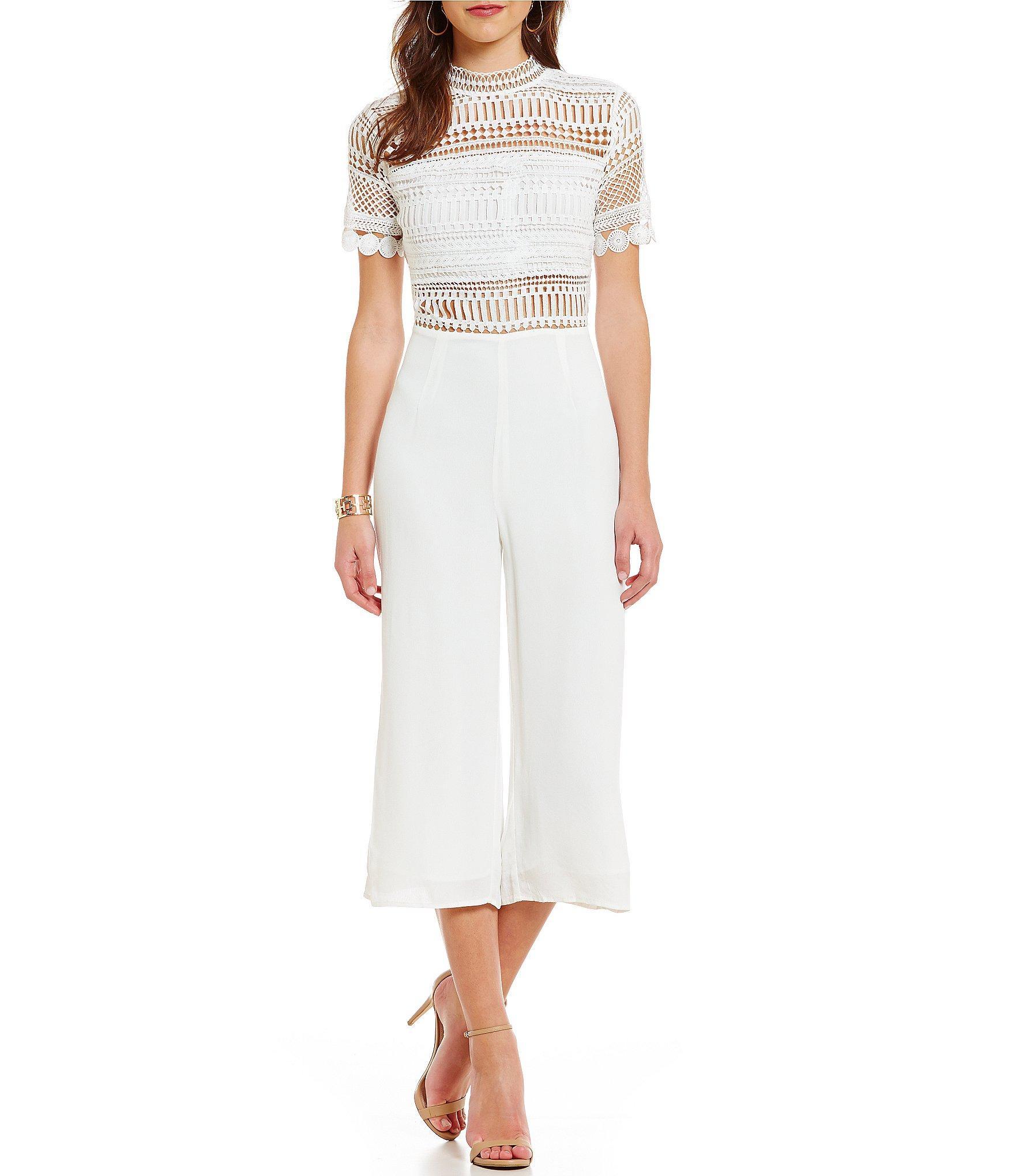 7e70e6919cb Lyst - Blu Pepper Crochet Short-sleeve Jumpsuit in White