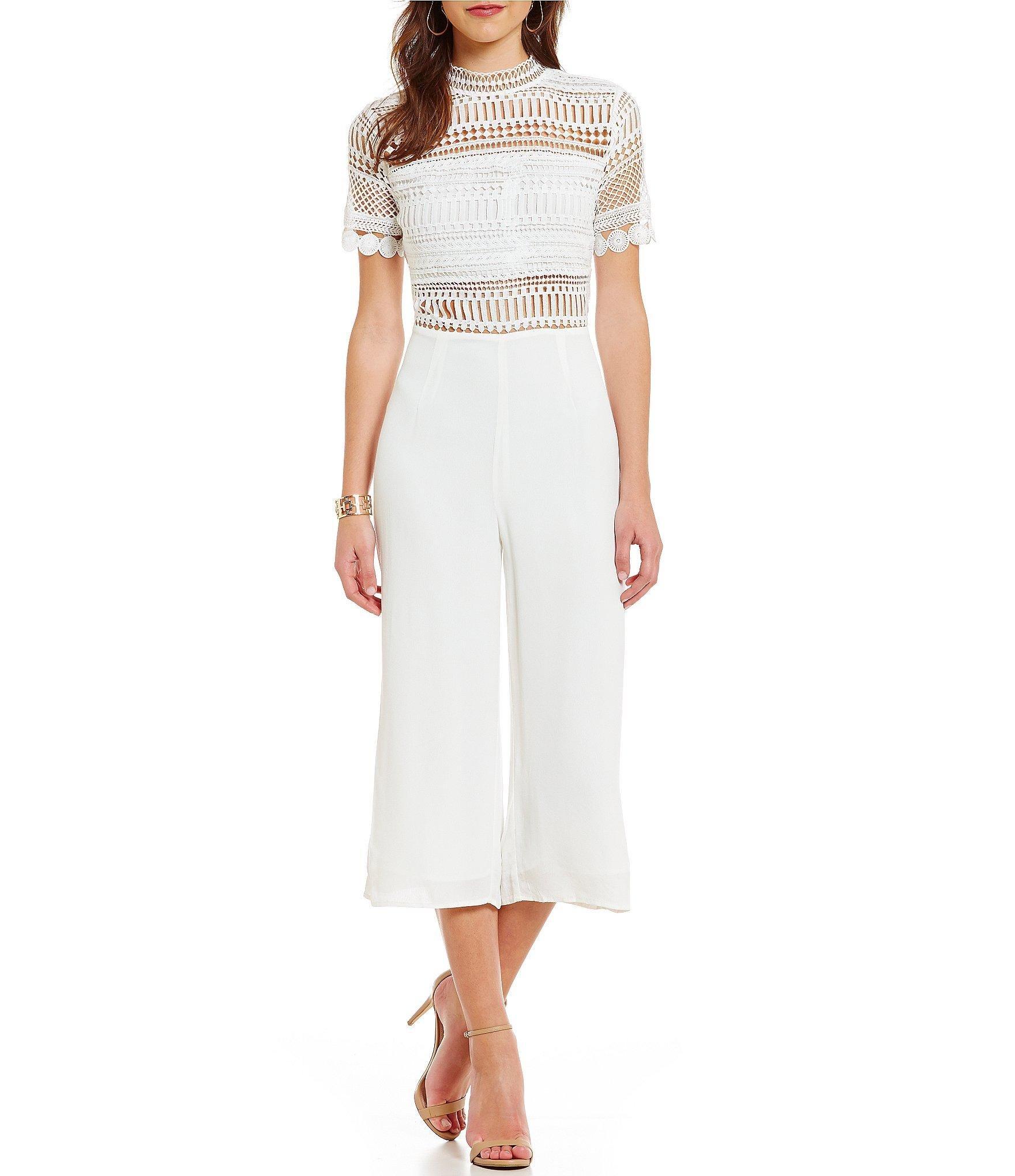 6118d857c044 Lyst - Blu Pepper Crochet Short-sleeve Jumpsuit in White