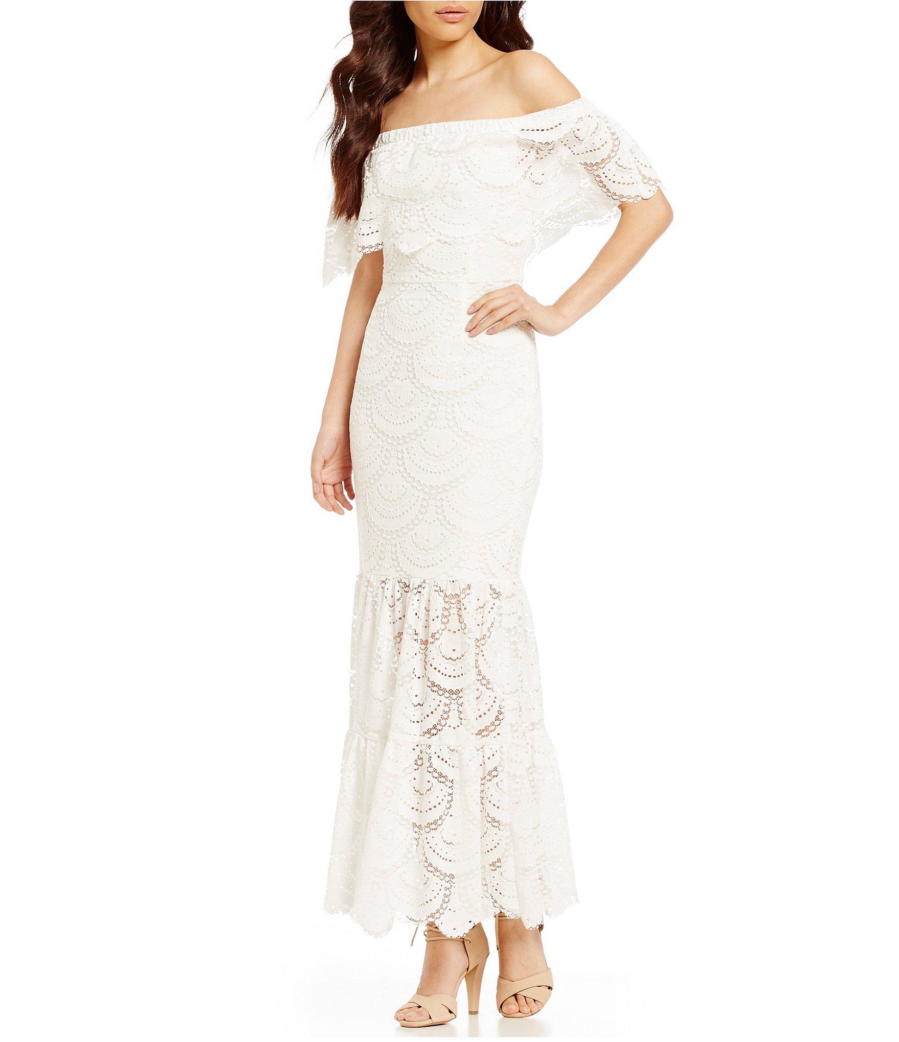 9cd424313b Gianni Bini Reina Off-the-shoulder Short Sleeve Lace Maxi Dress in ...