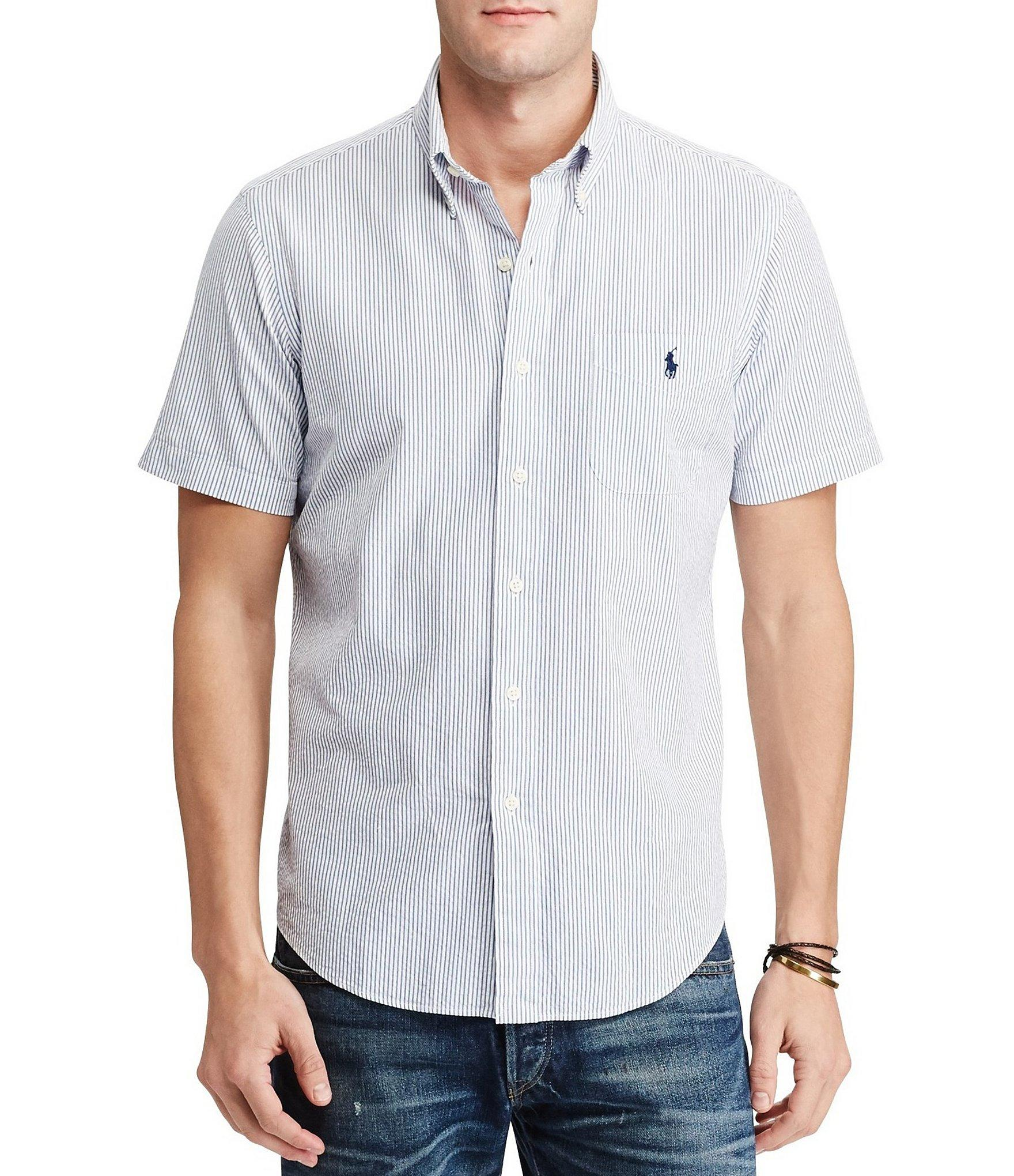 Polo ralph lauren standard fit striped seersucker short for Mens short sleeve seersucker shirts