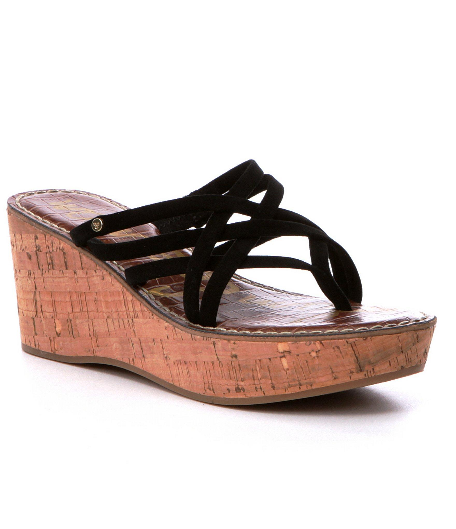 sam edelman randy wedge sandals in black lyst