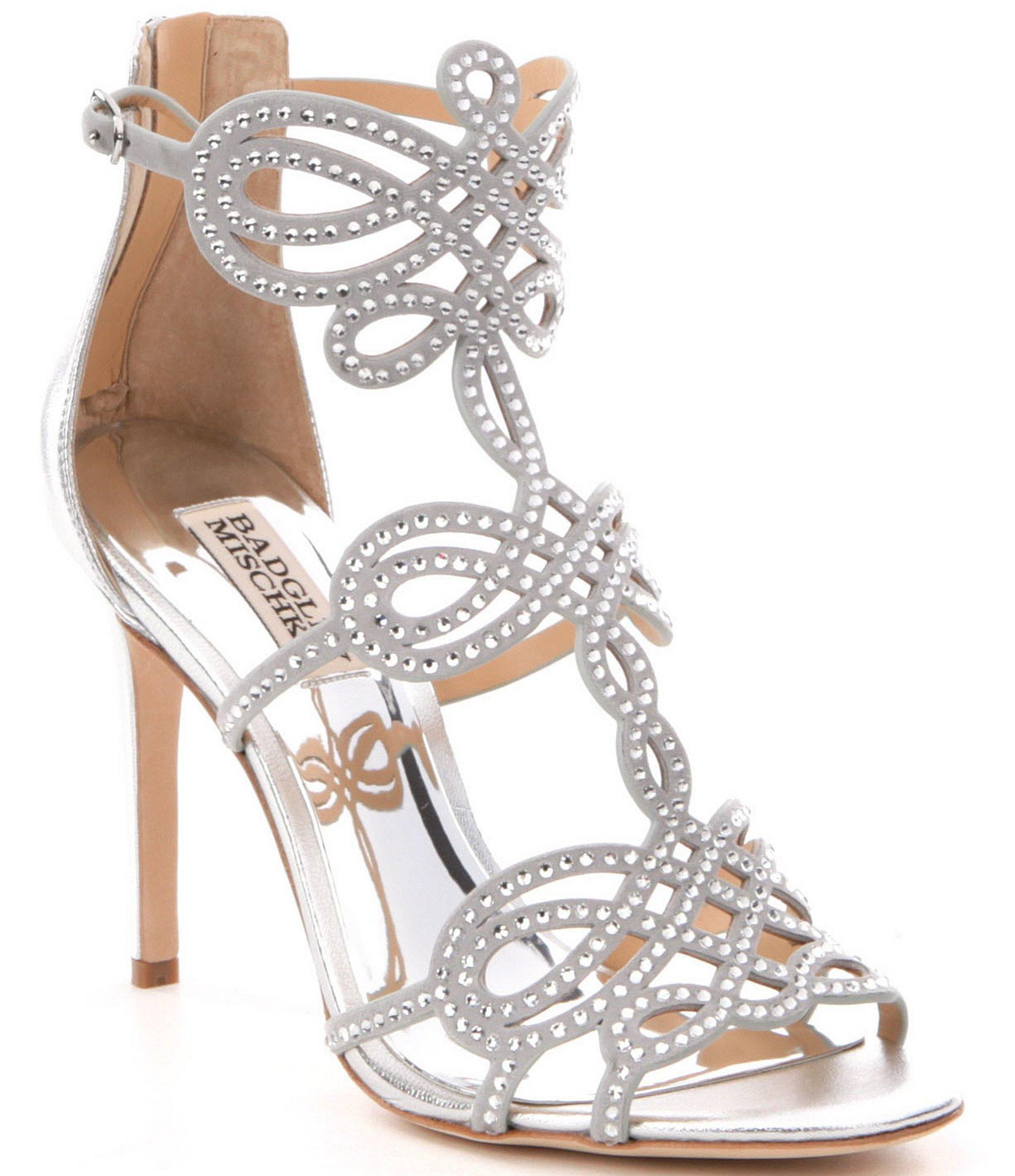 90d78452807fd Lyst - Badgley Mischka Teri Jeweled Strappy Dress Sandals in Metallic