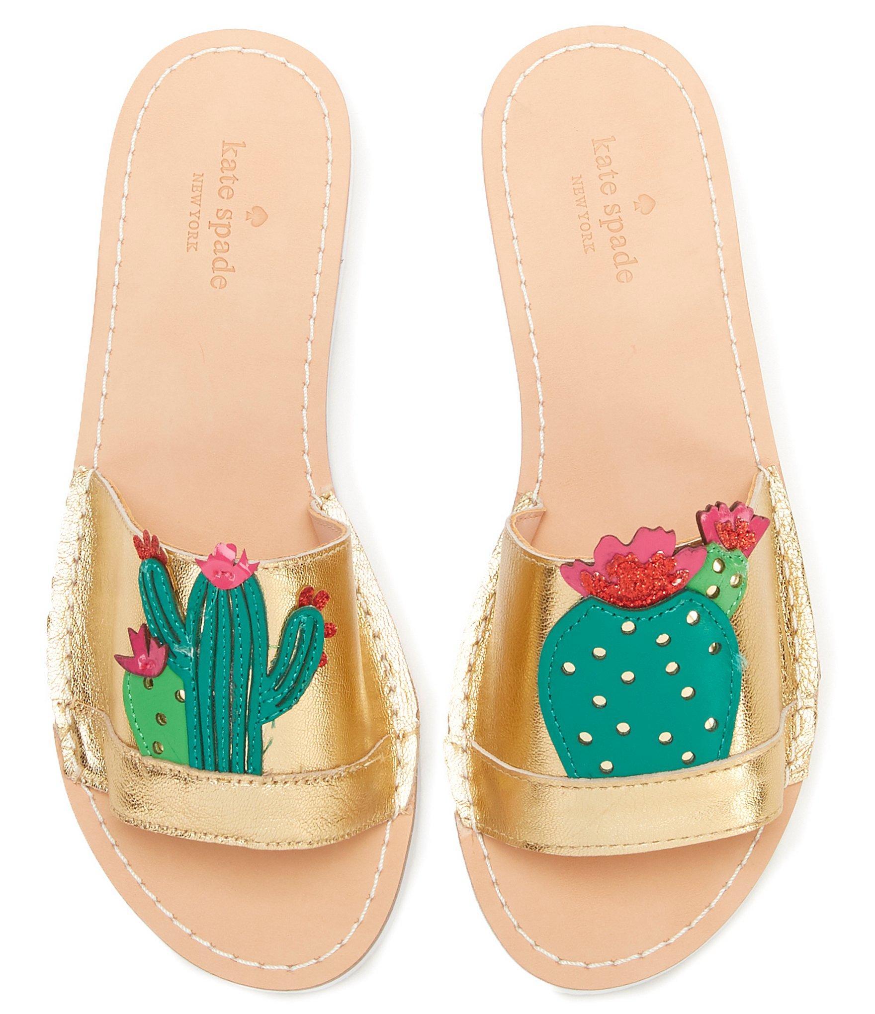 ecbb9fe1750f Lyst - Kate Spade Iguana Cactus Slide Sandals in Metallic