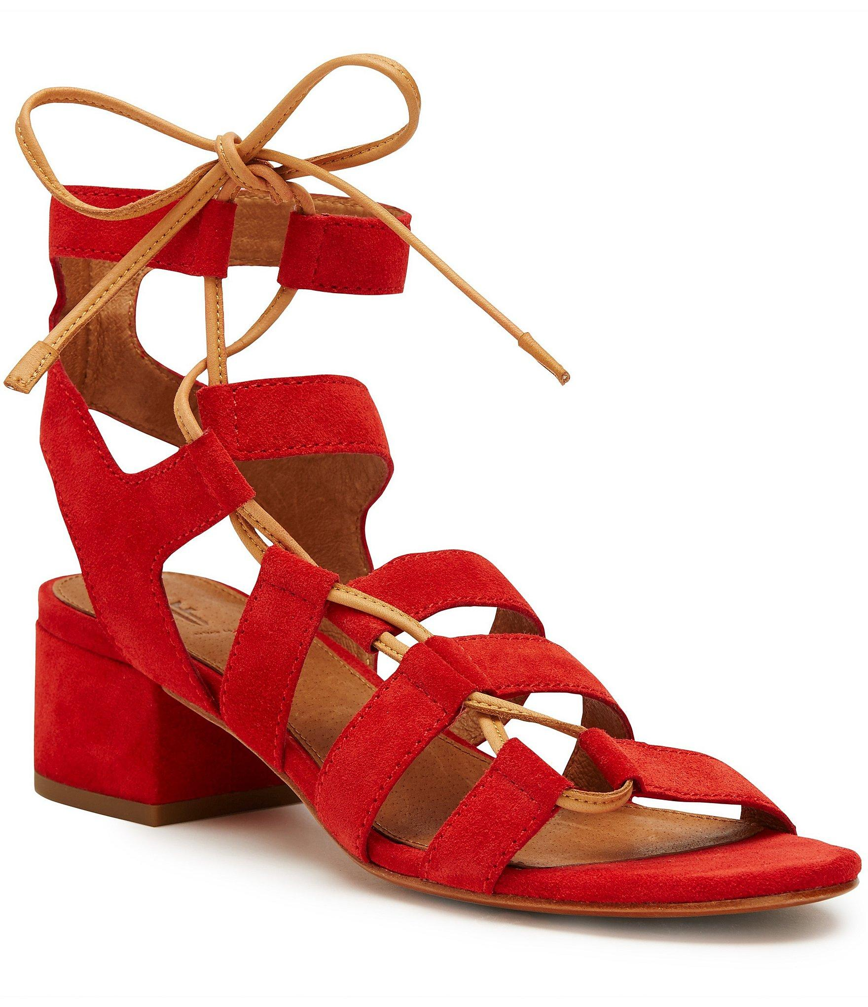 66493d683c735 Lyst - Frye Chrissy Suede Side Ghillie Block Heel Sandals in Red