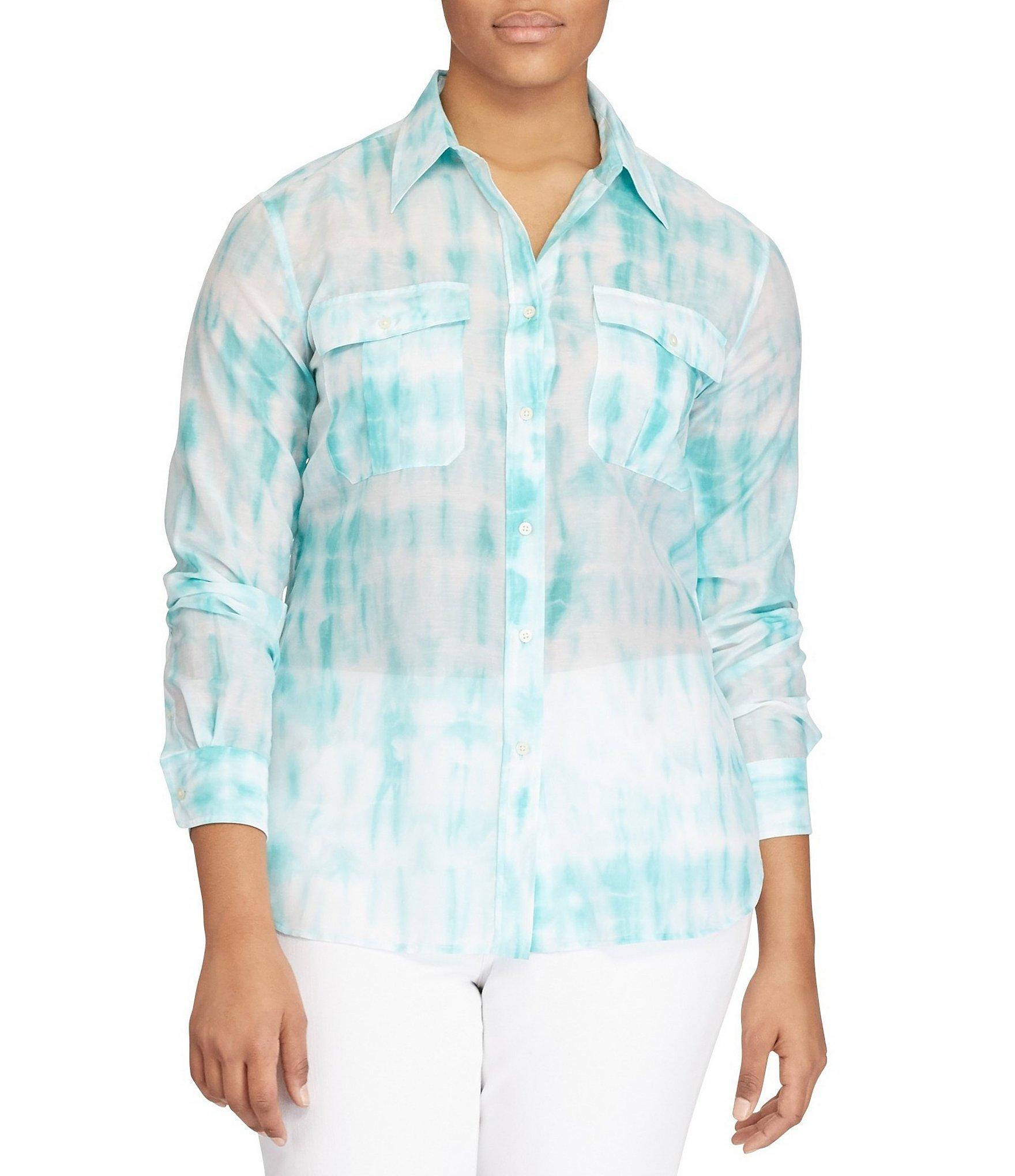 Lauren by Ralph Lauren. Women's Blue Plus Tie-dye Button-down Shirt