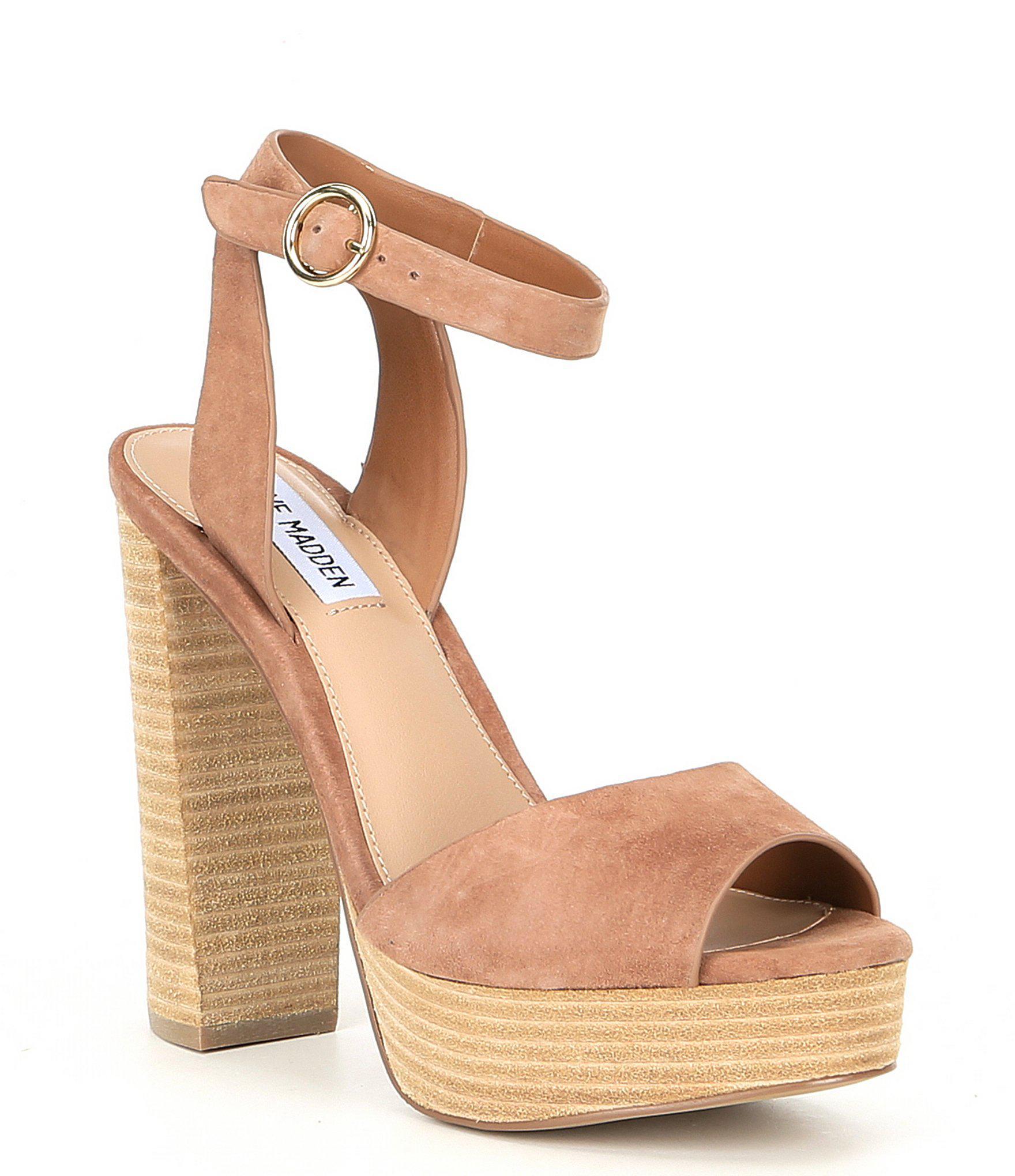 6024c45a5675 Lyst - Steve Madden Madeline Suede Block Heel Platform Sandals in Brown