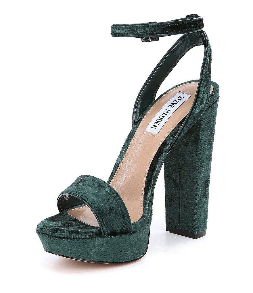deb1160ffad Lyst - Steve Madden Insomnia Velvet Ankle Strap Block Heel Dress ...