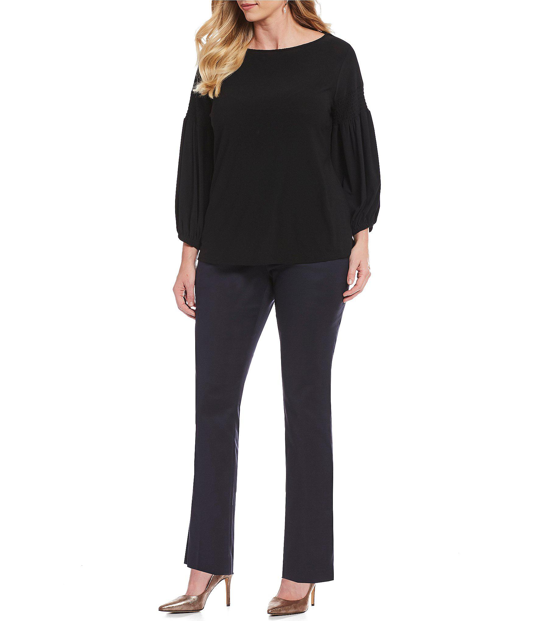 b485ff5c8e5e9 Lyst - Cece Plus Size Crepe Knit Smocked Balloon Sleeve Top in Black