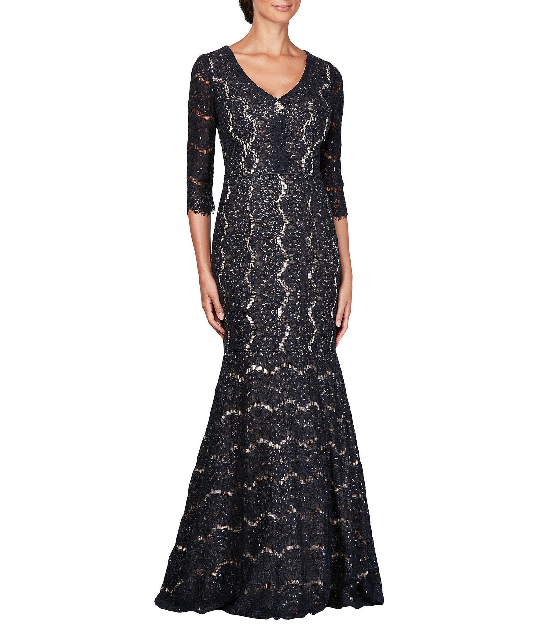 c61a0fa4899 Lyst - Alex Evenings V-neck 3 4 Sleeve Sequin Lace Gown