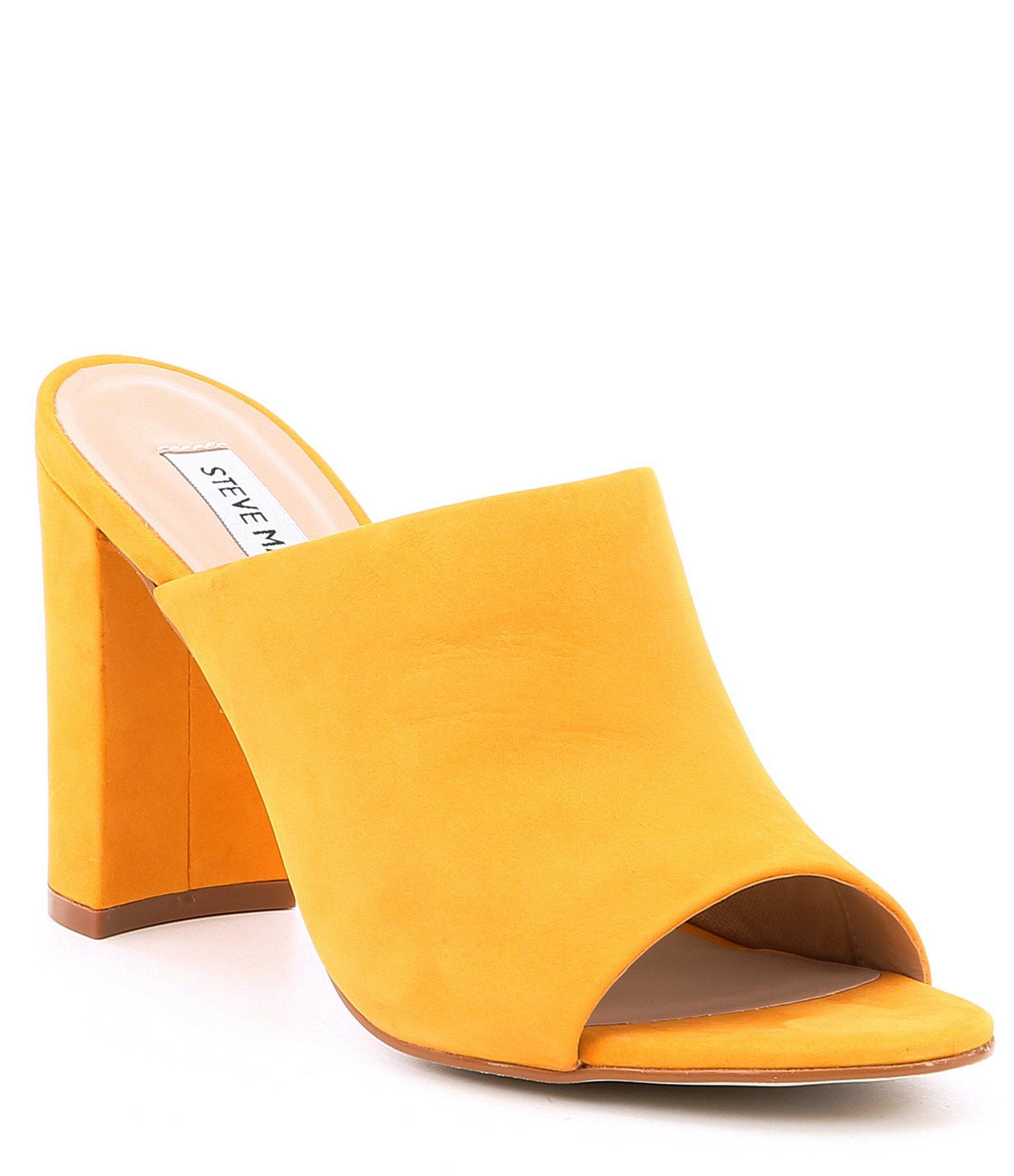 c49df9edc33 Lyst - Steve Madden Esmeralda Nubuck Block Heel Mules in Yellow