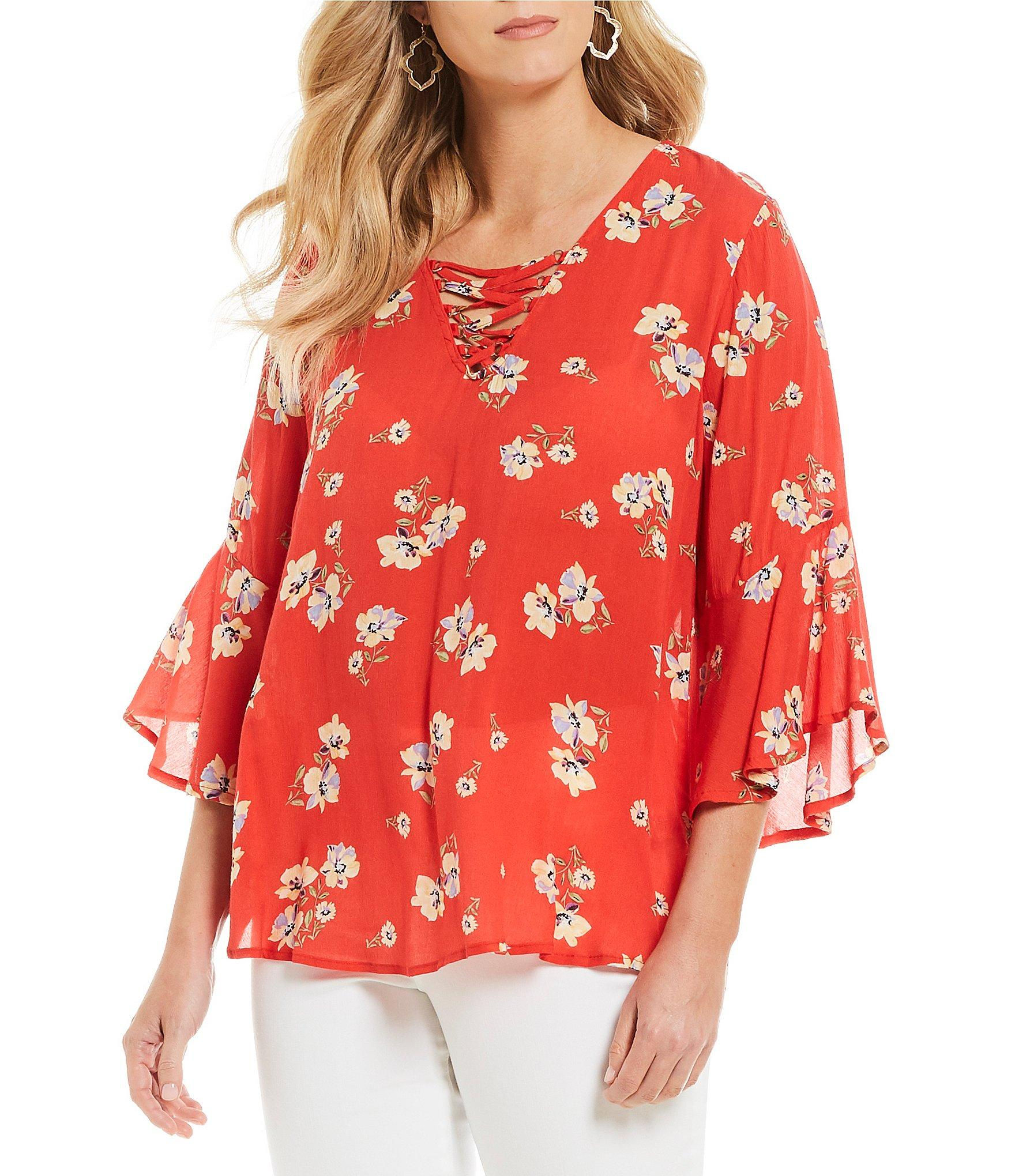 870dbc98bd2 Lyst - Democracy Lace-up V-neck Poppy Print High-low Hem Top in Red