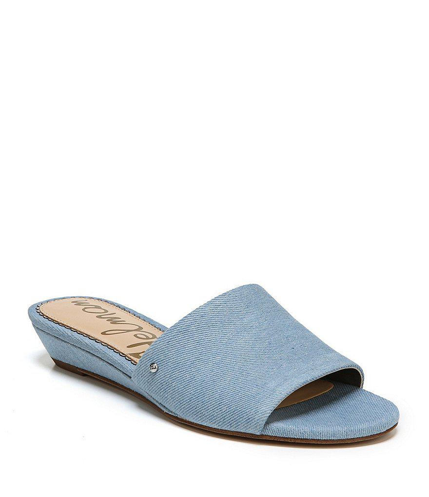 Liliana Washed Denim Wedge Sandals nIh9NNF