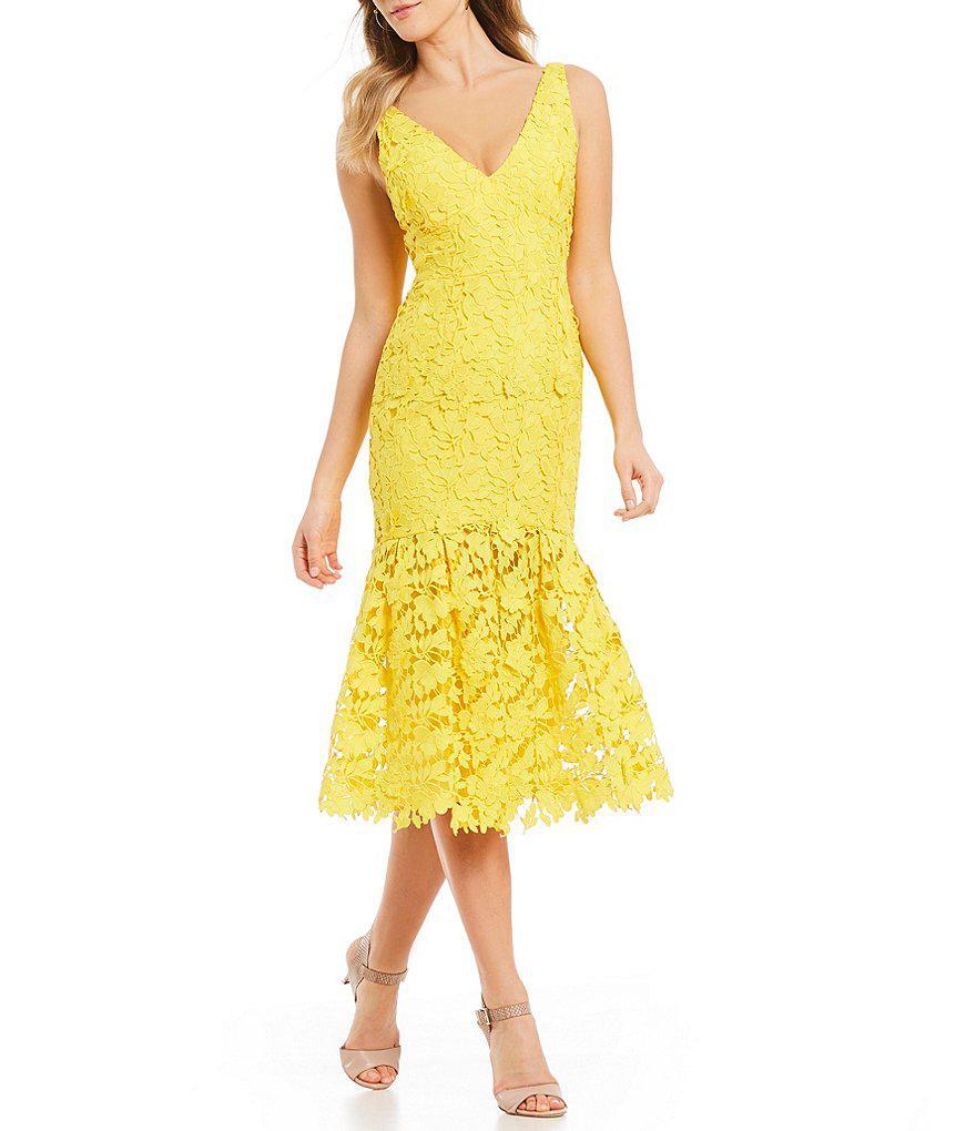 4ef470129d Antonio Melani Namara Lace Midi Dress in Yellow - Lyst