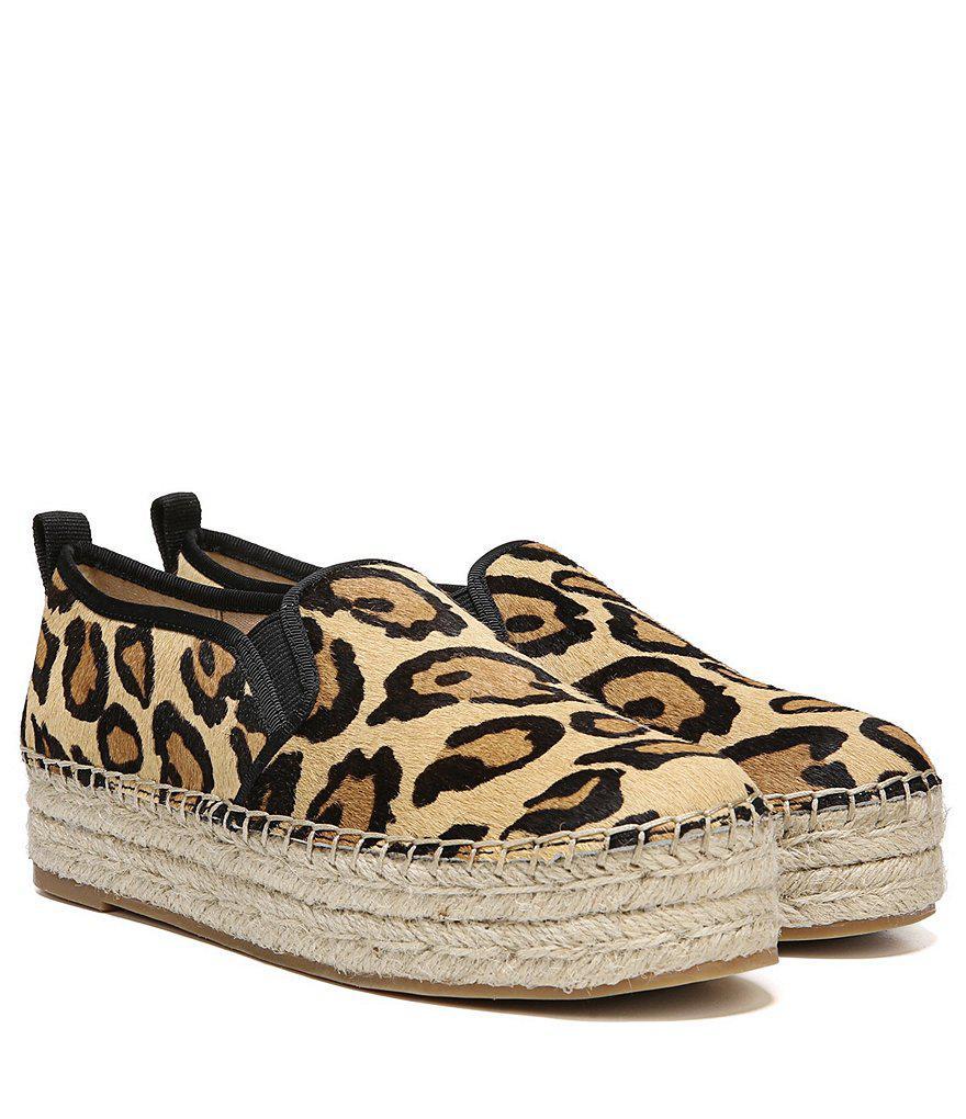 Sam Edelman Carrin Leopard Print Calf Hair Platform Espadrilles w9ms9