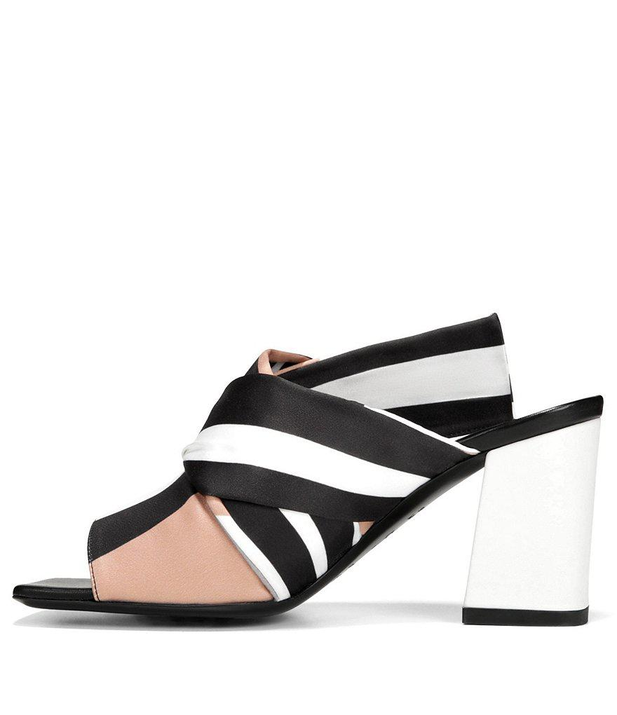 Elly Striped Colorblock Satin Block Heel Dress Mules ww80LdkZro