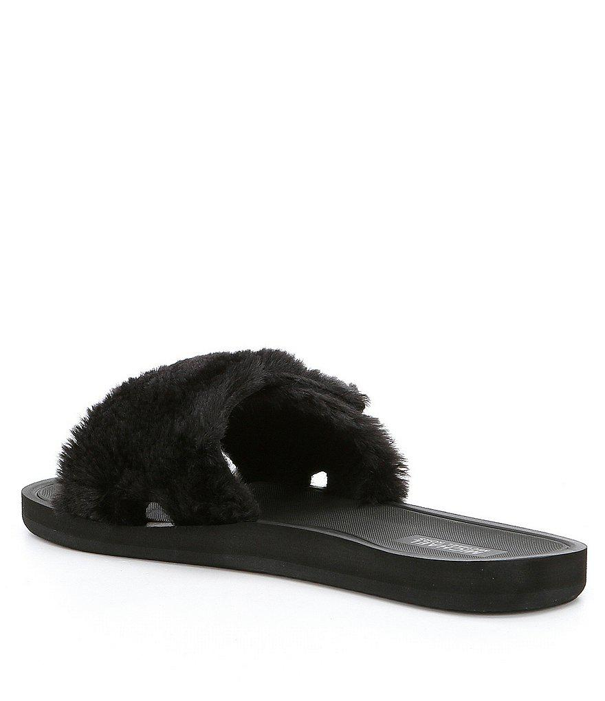 2f8e16a45b24 Lyst - MICHAEL Michael Kors Mk Faux Fur Slides in Gray