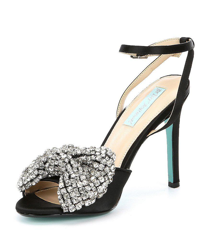 Blue by Betsey Johnson Heidi Rhinestone Bow Ankle Strap Peep-Toe Dress Sandals EiHVmKo2s