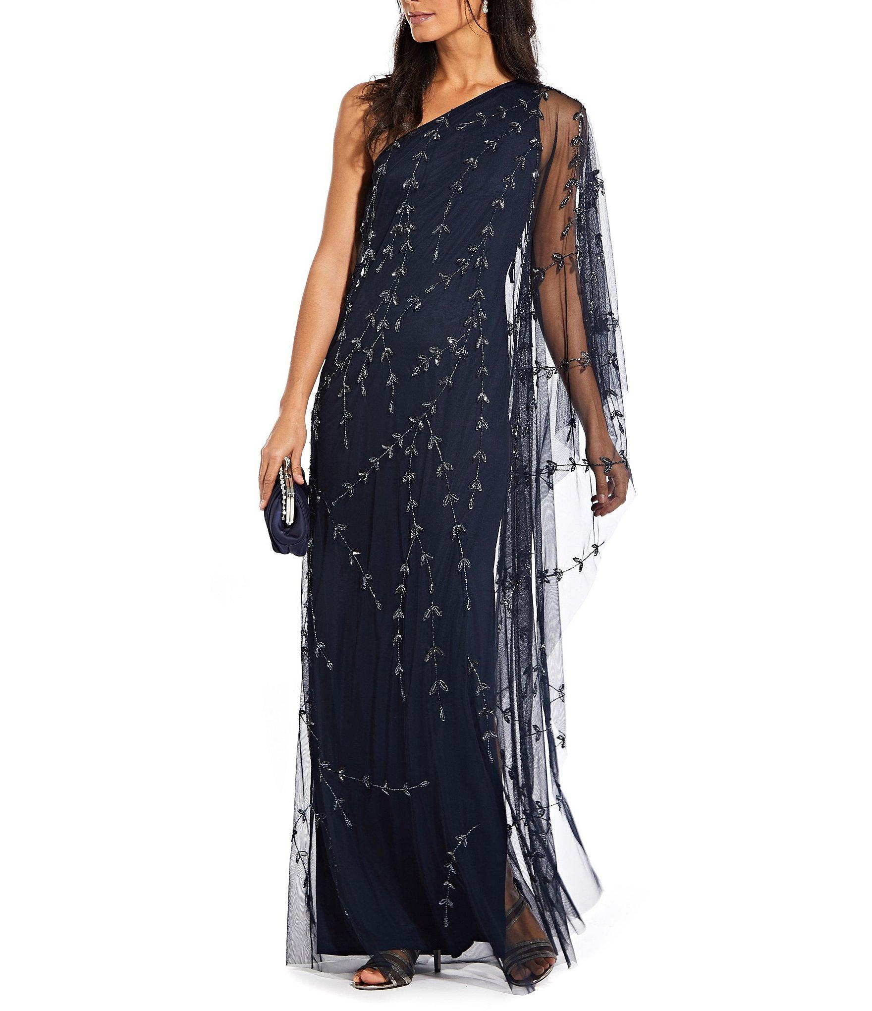 c6576ea173645 Lyst - Adrianna Papell Plus Size One Shoulder Long Beaded Gown in Blue