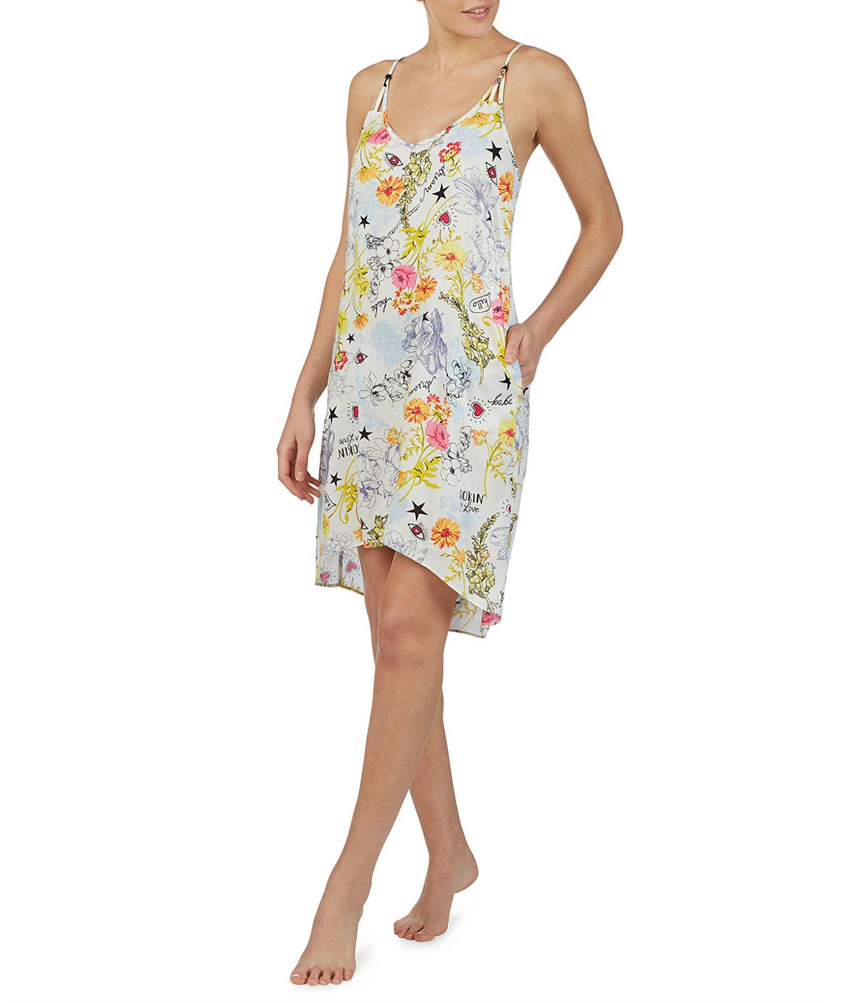 e355d2658bdf Lyst - Betsey Johnson Floral-printed Woven Chemise in White