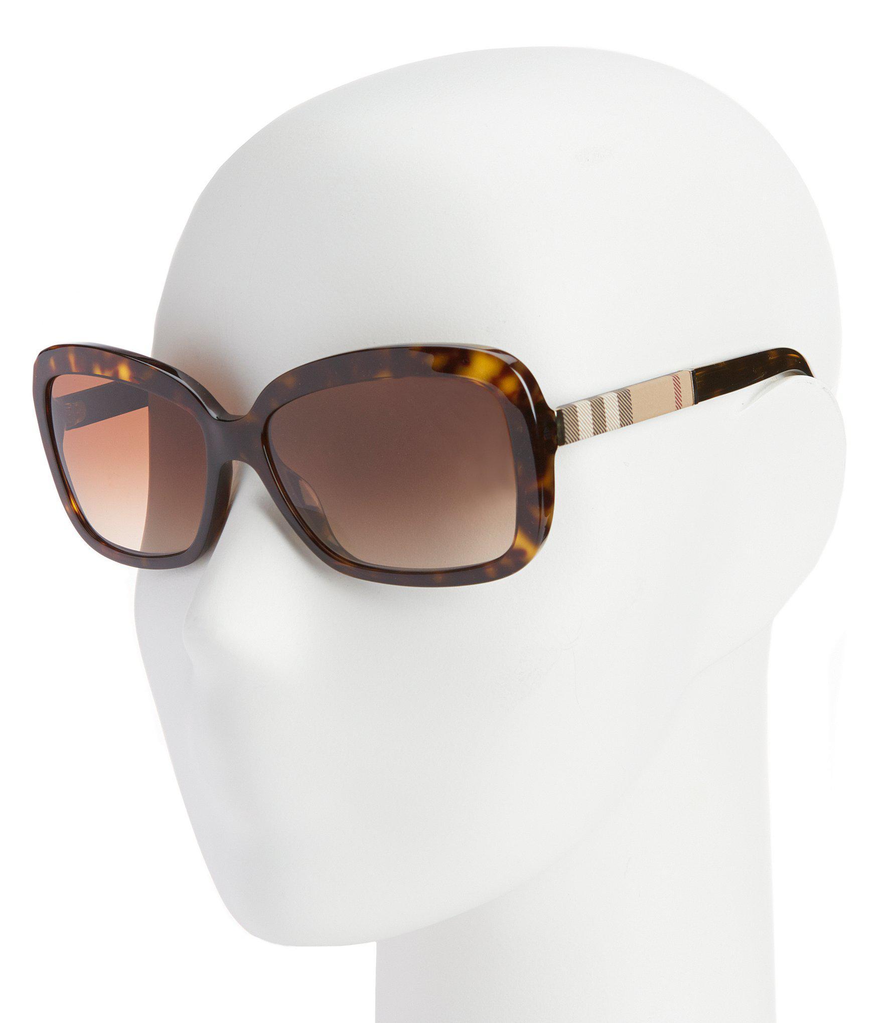 a51723833e20 Lyst - Burberry Canvas Check Square Gradient Sunglasses in Brown