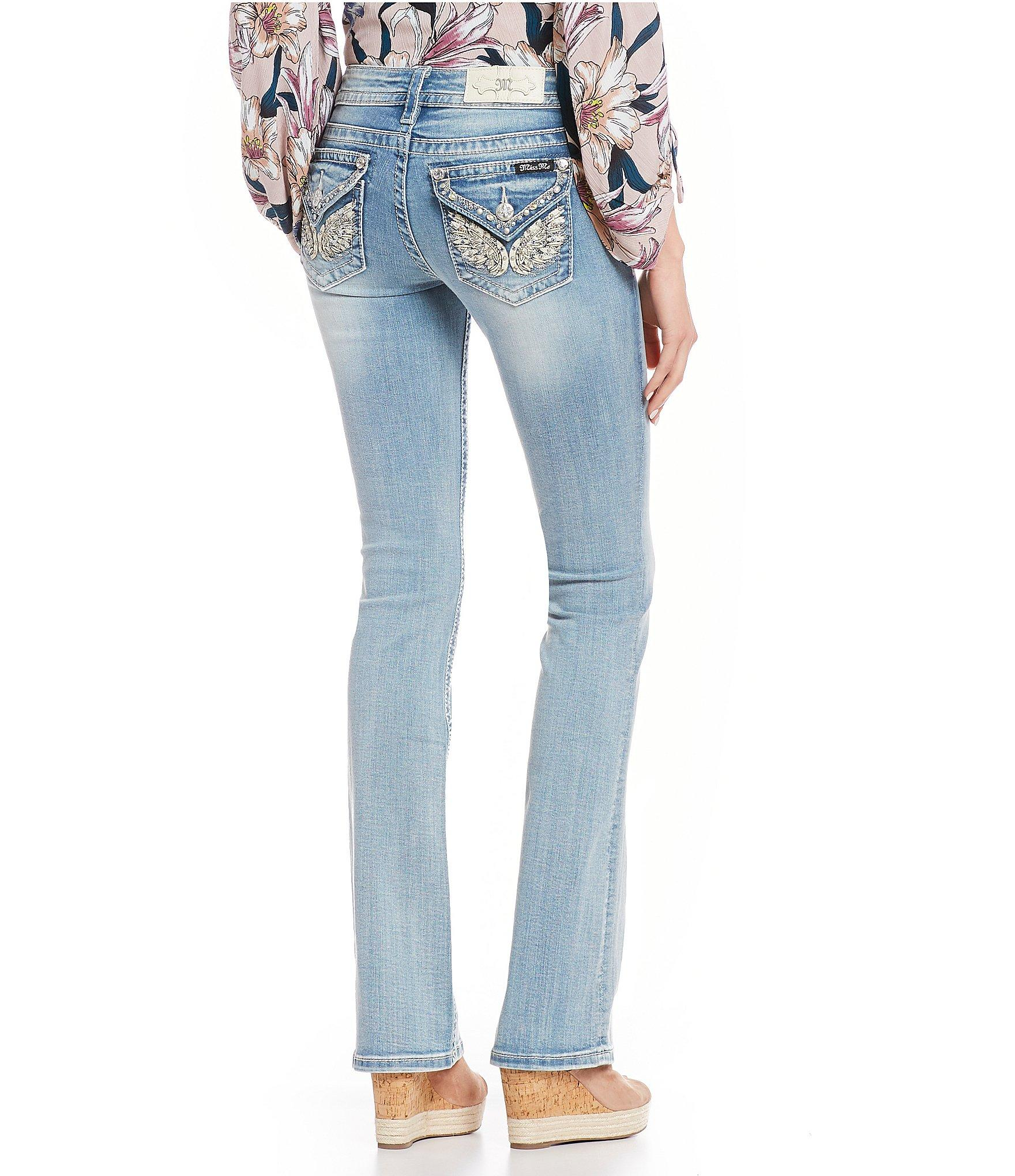 f55d18d7017 Lyst - Miss Me Embellished Wing Flap Pocket Bootcut Jeans in Blue