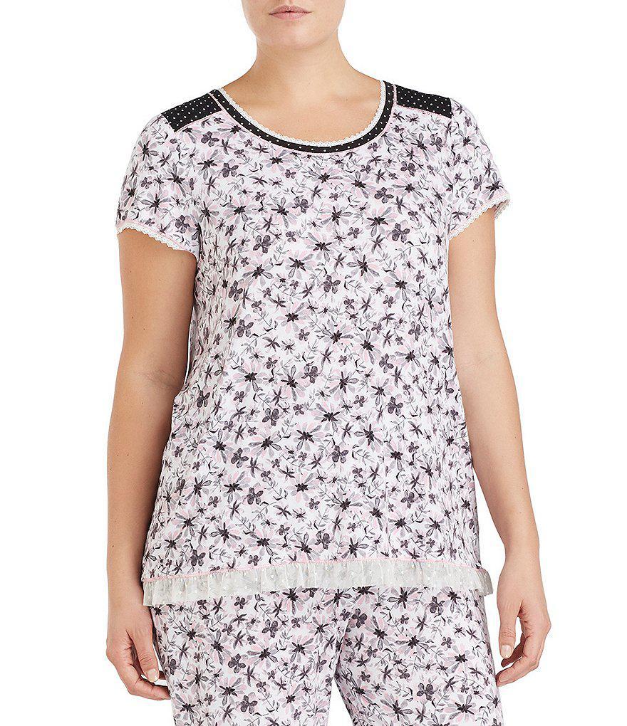 5ea0953e9a Lyst - Kensie Plus Floral Jersey Sleep Top