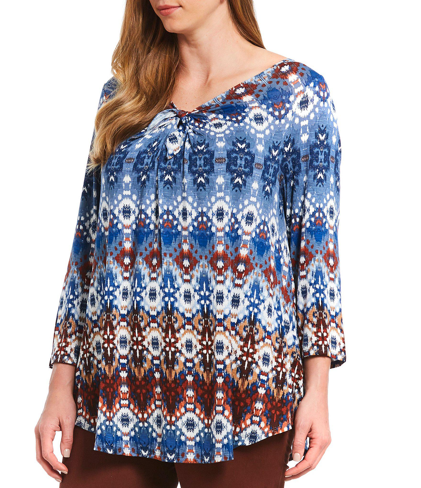 7c9b65e75f94d Ruby Rd. Women s Blue Plus Size Tie Neck Detail Sonora Ikat Border Print  Knit Top