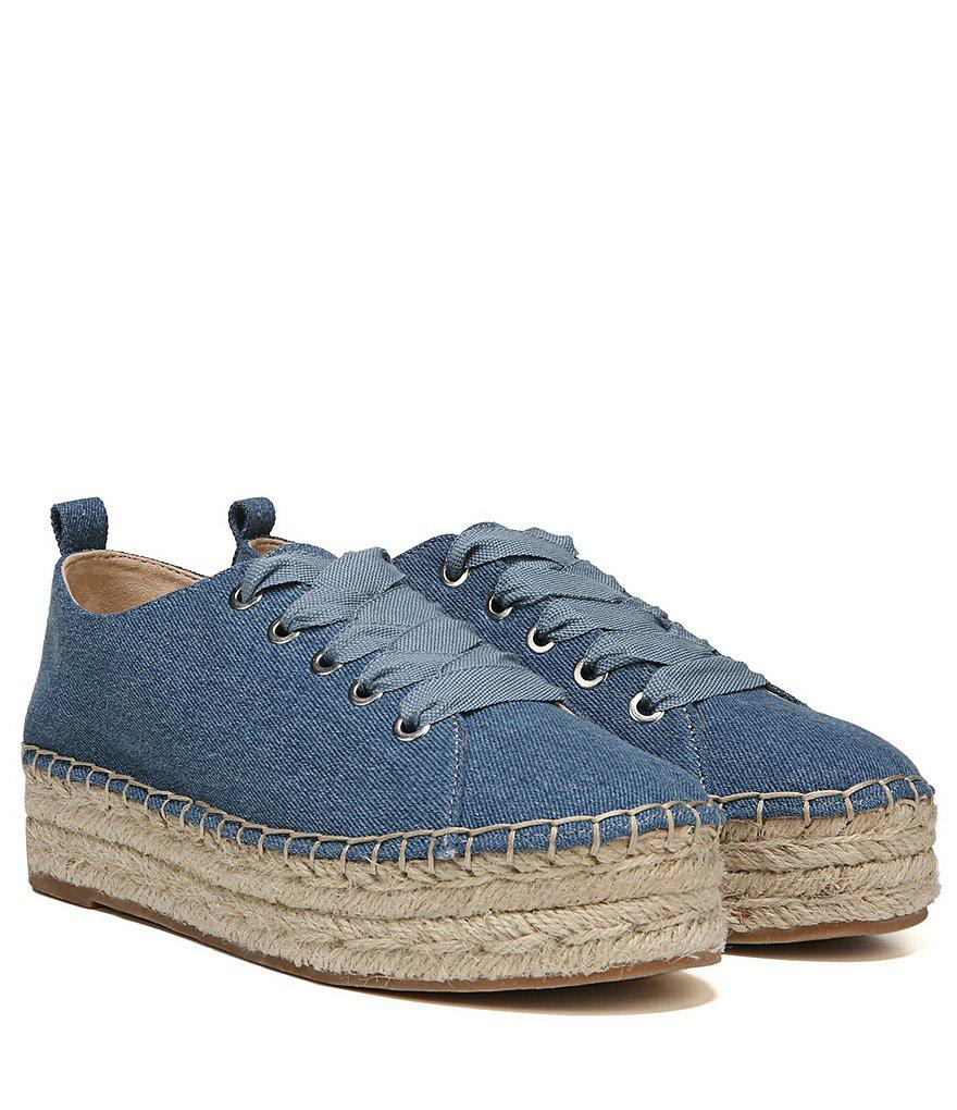 Sam Edelman Celina Washed Denim Lace Up Espadrilles EnF9T6fJ