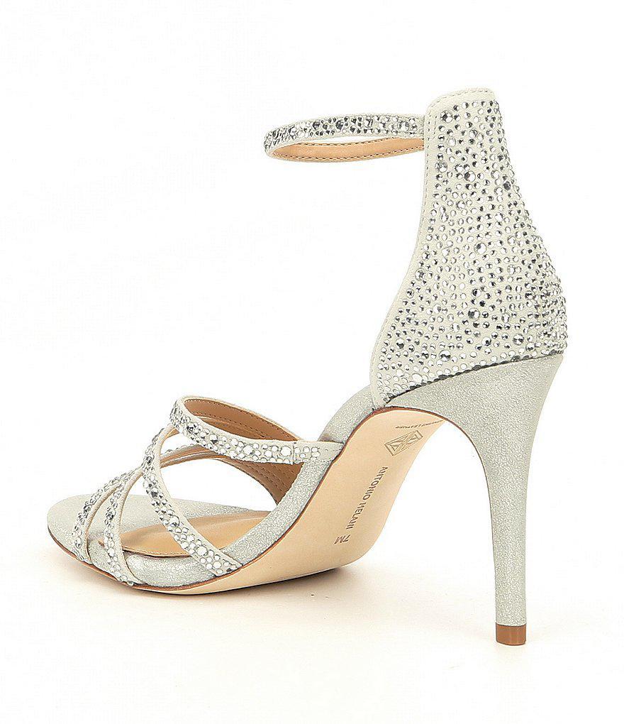 Paoline Suede Asymmetrical Rhinestone Detail Ankle Strap Dress Sandals MM5fa3u3tt