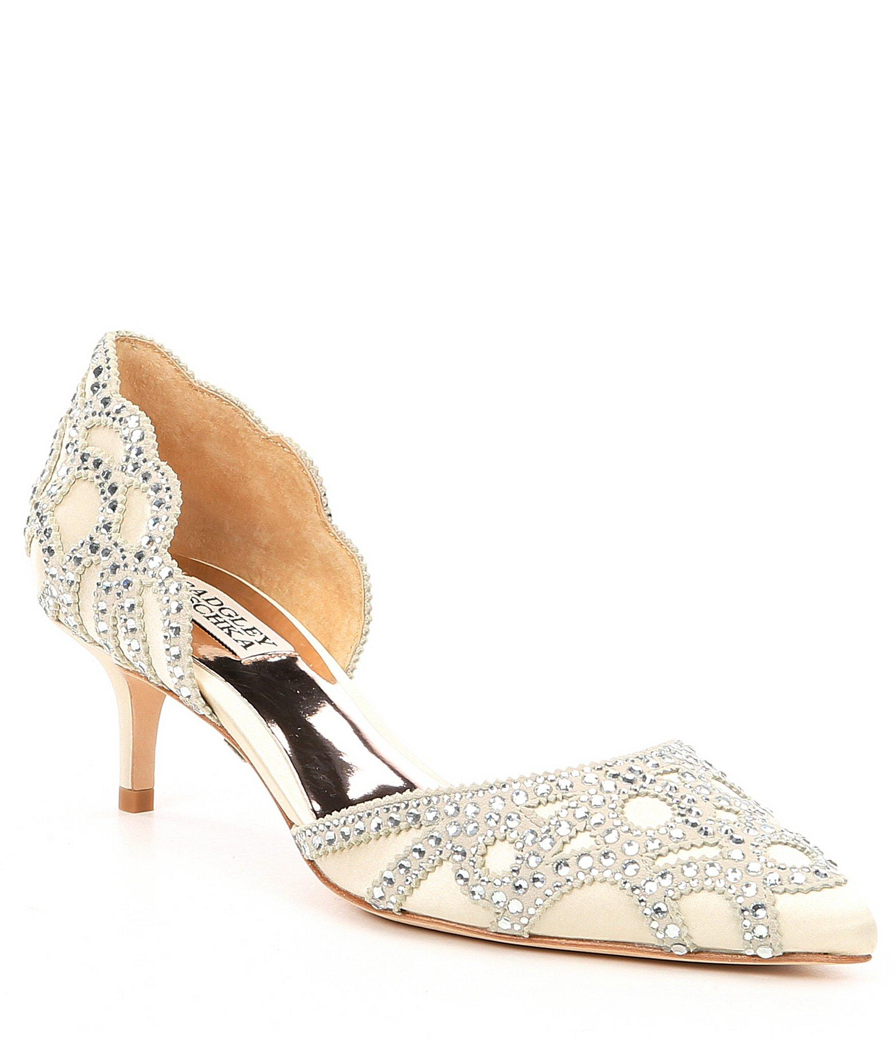 17728339c2 Badgley Mischka. Women's White Ginny Satin And Suede Jeweled D'orsay Pumps