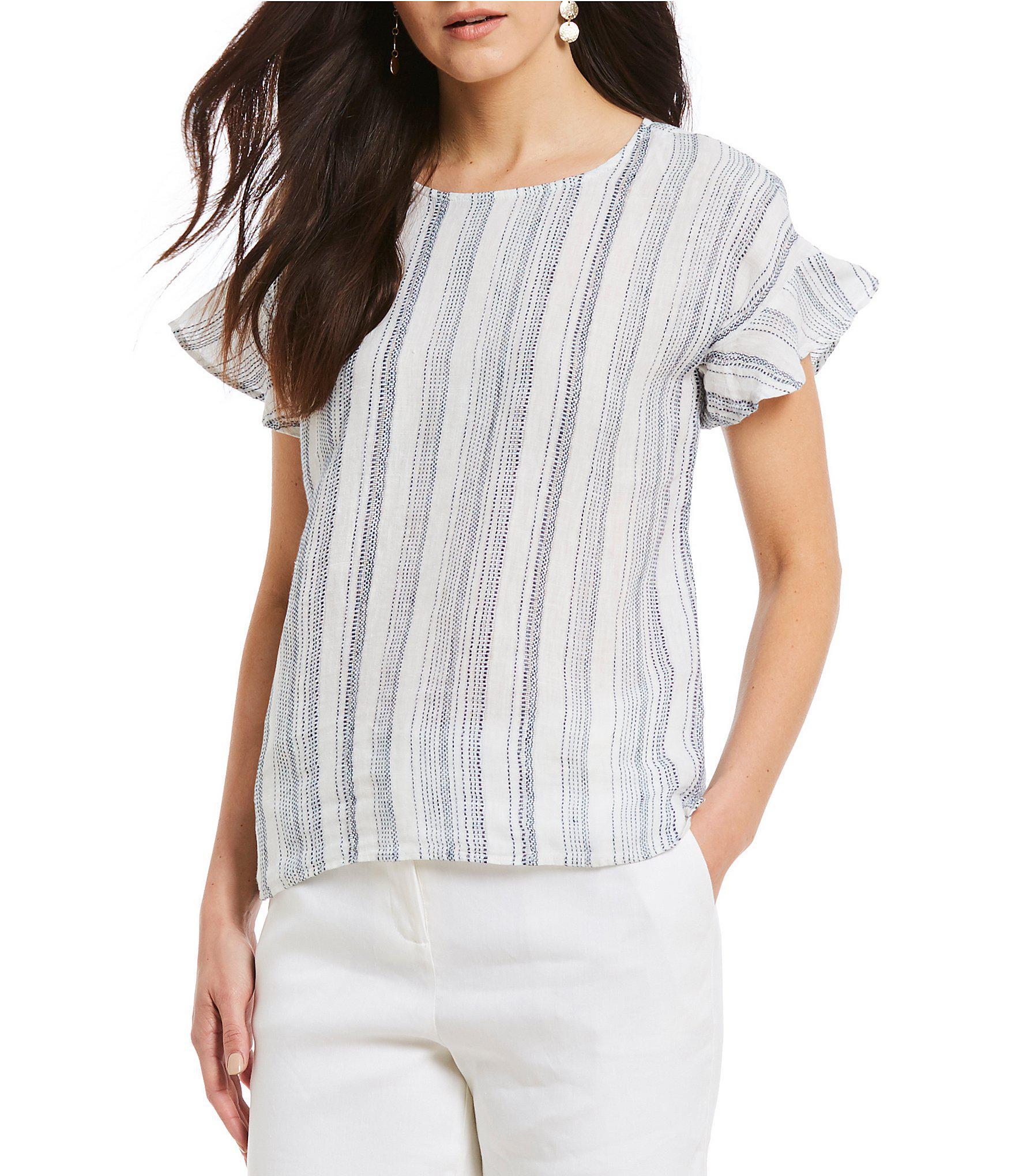 58652129b40bf Lyst - Antonio Melani Penelope Ruffle Sleeve Stripe Linen Blouse in Blue