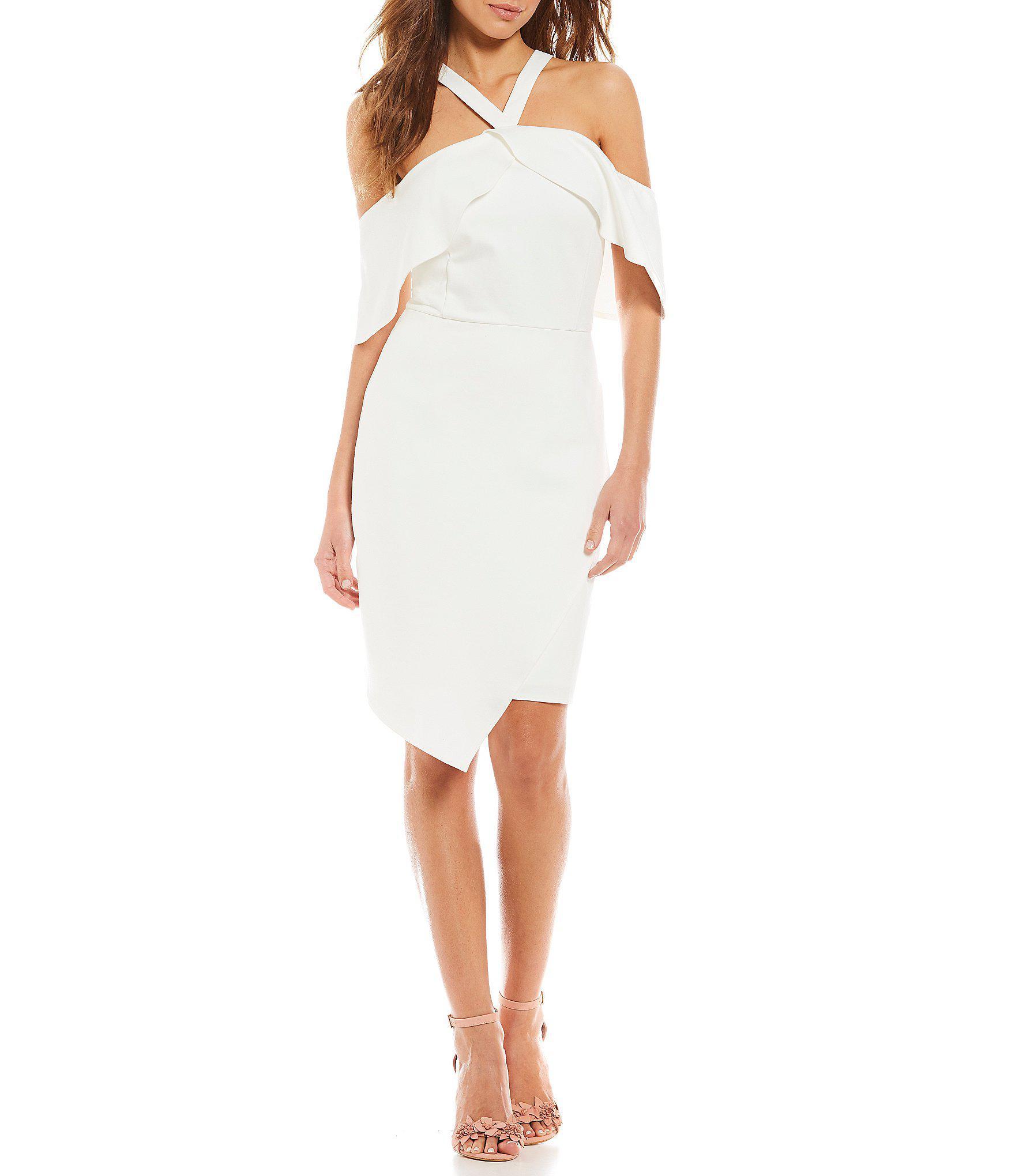 2c2a8a4be8 Gianni Bini Meg Ponte Asymmetrical Dress in White - Lyst