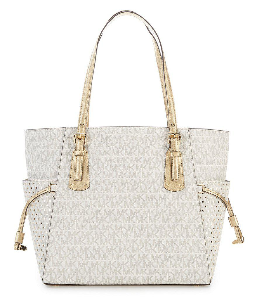 50cae5efef705 Lyst - MICHAEL Michael Kors Signature Voyager East west Tote in Metallic