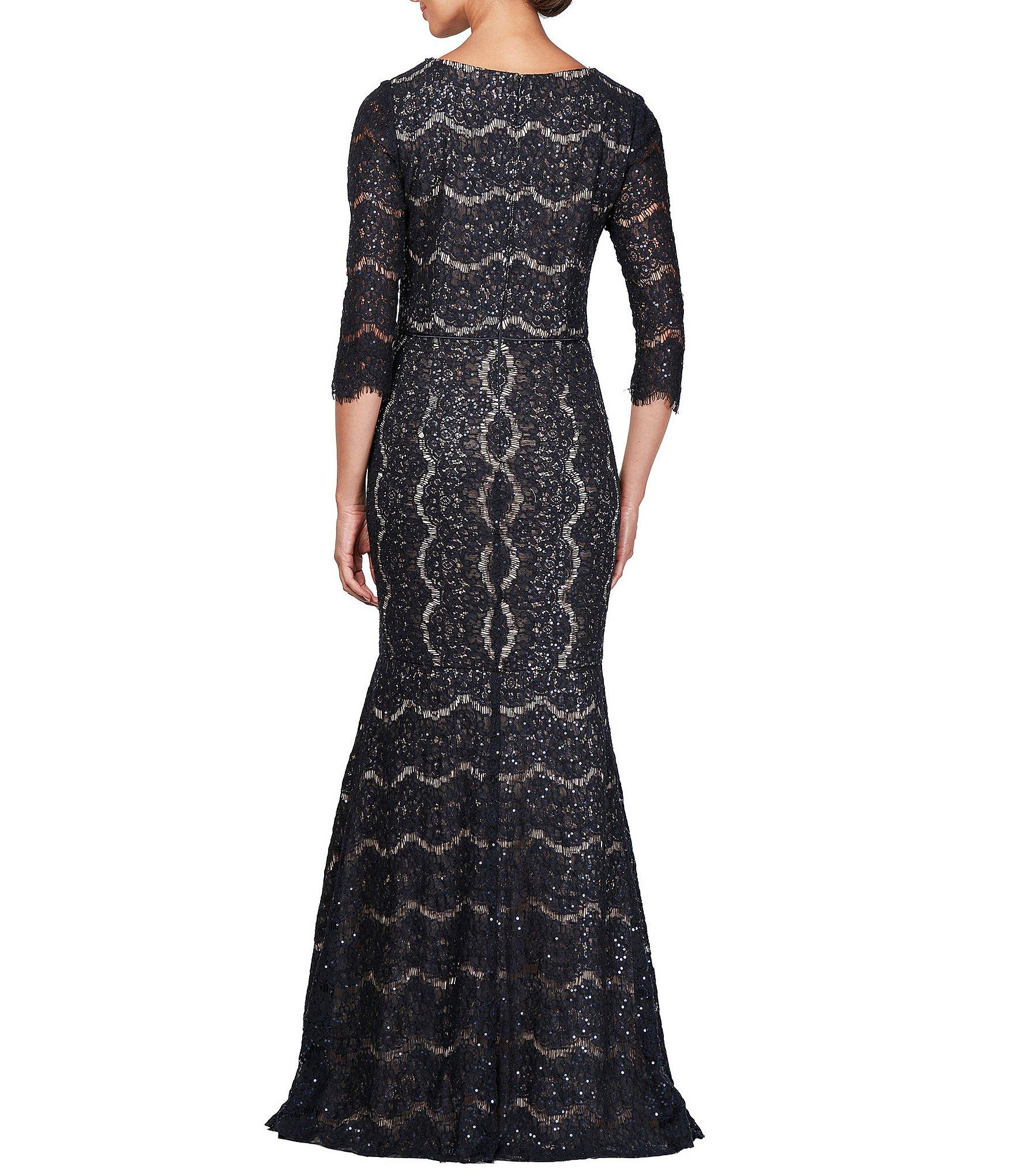 b786f416ca9 Alex Evenings - Multicolor V-neck 3 4 Sleeve Sequin Lace Gown - Lyst. View  fullscreen