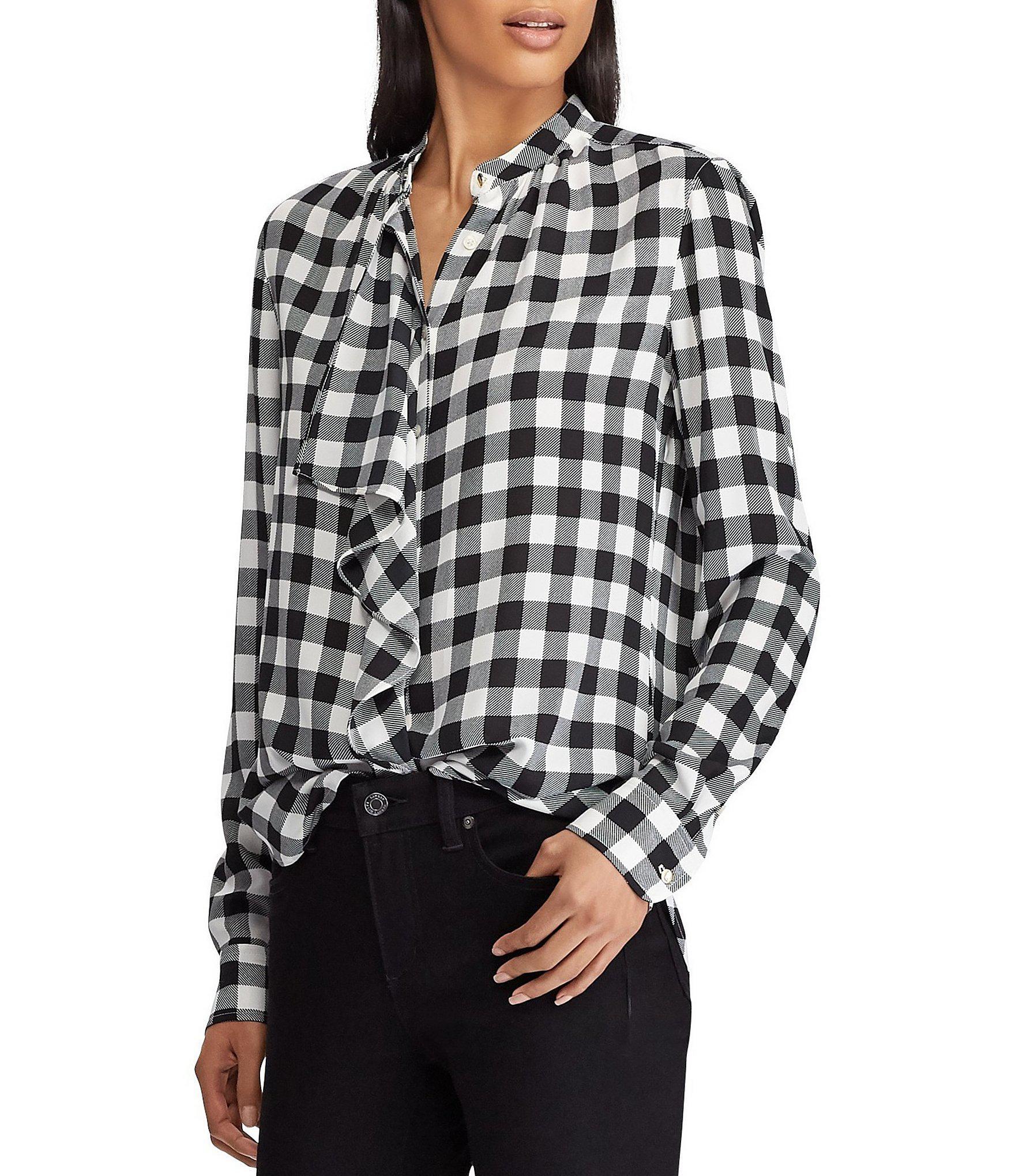 e862ad23168723 Lauren by Ralph Lauren. Women's Buffalo Check Ruffle Georgette Button Front  Shirt