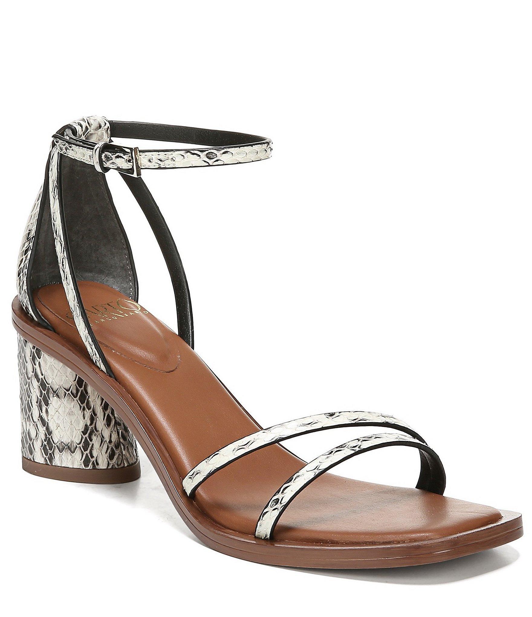 7f470792cb018 Franco Sarto. Women s Black Sarto By Ronelle 2 Snake Print Leather Block  Heel Sandals