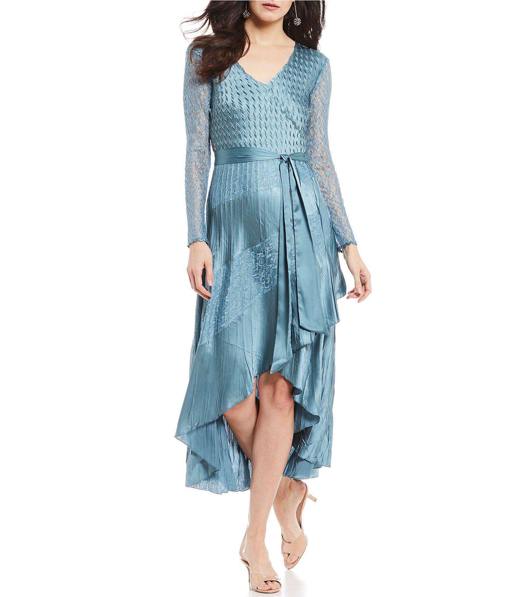 ee06279ed8 Komarov V Neck Faux Wrap Midi Dress in Blue - Lyst