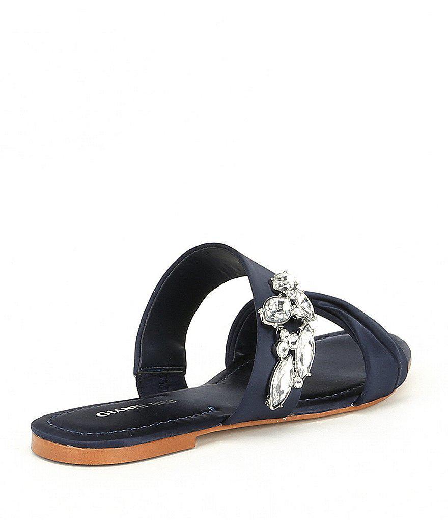 Lewisa Rhinestone Satin Double Banded Flat Sandals gXRZOyqx3I