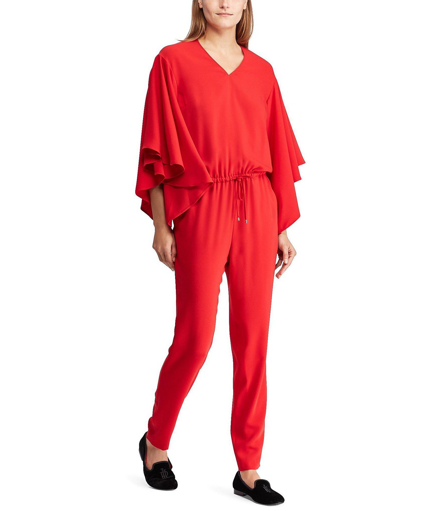 2c58d57c813 Lyst - Lauren by Ralph Lauren Crepe V-neck Jumpsuit in Red