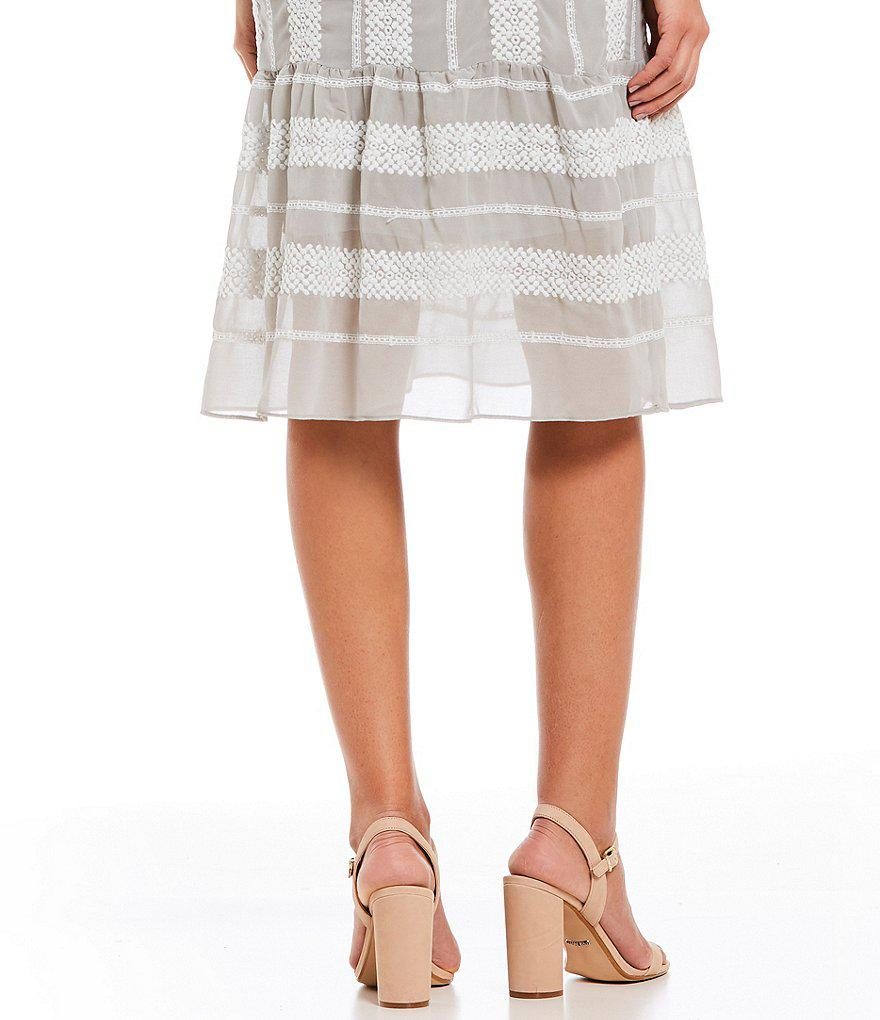 2889af89a8a Gianni Bini Eryn Crochet Stripe Flounce Hem Midi Dress in Gray - Lyst