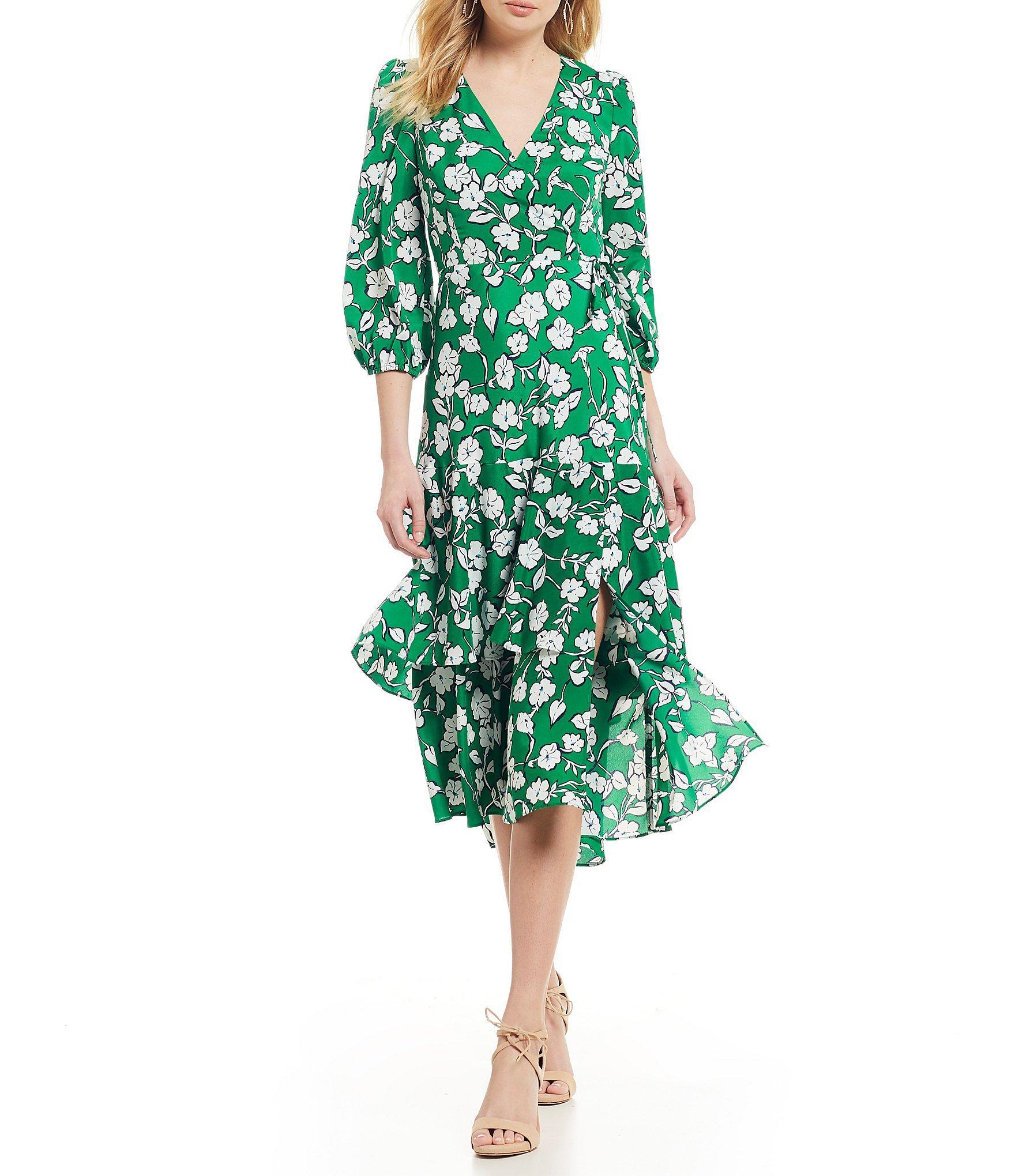 d0410cfc0c2 Lyst - Eliza J Floral Print Surplice V-neck Midi Length Wrap Dress ...