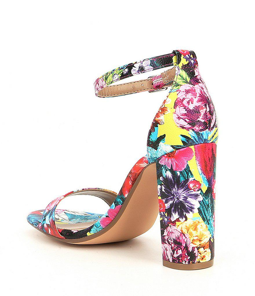 Steve Madden Carrson Flower Multi Ankle Strap Block Heel Dress Sandals gFIFl