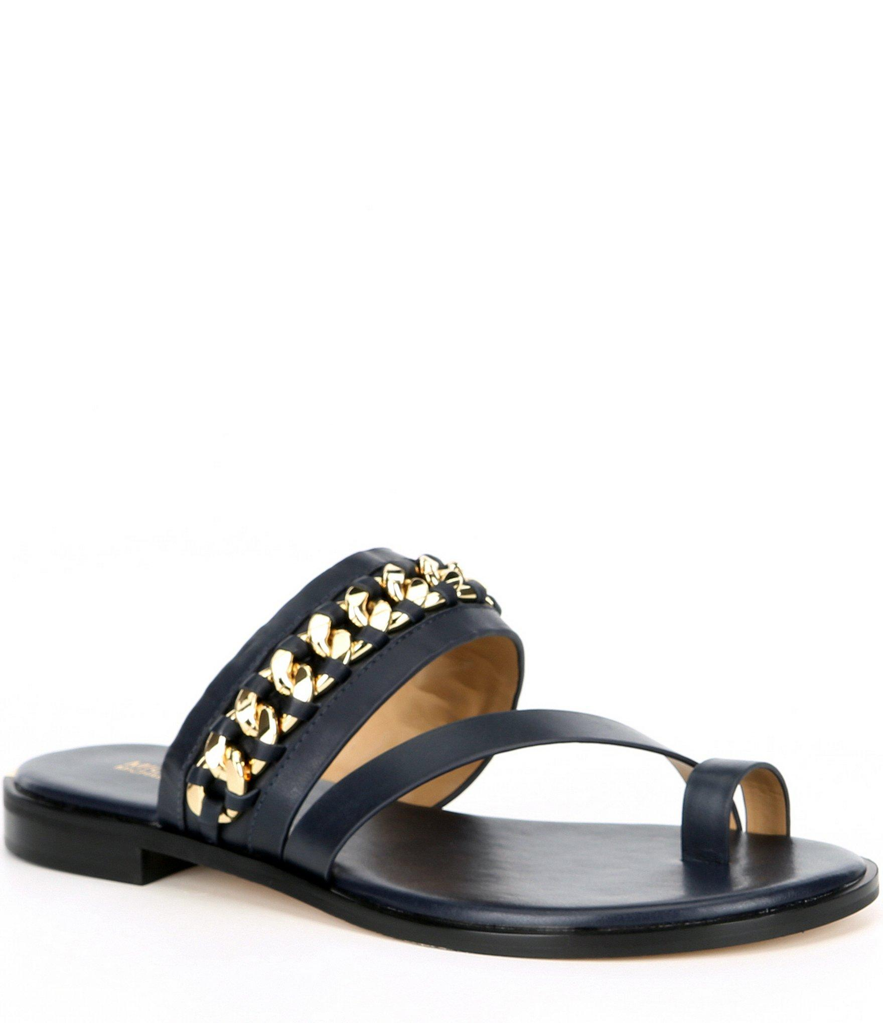 704e3070ff8b MICHAEL Michael Kors - Multicolor Bergen Leather & Chain Embellished Flat  Sandals - Lyst. View fullscreen
