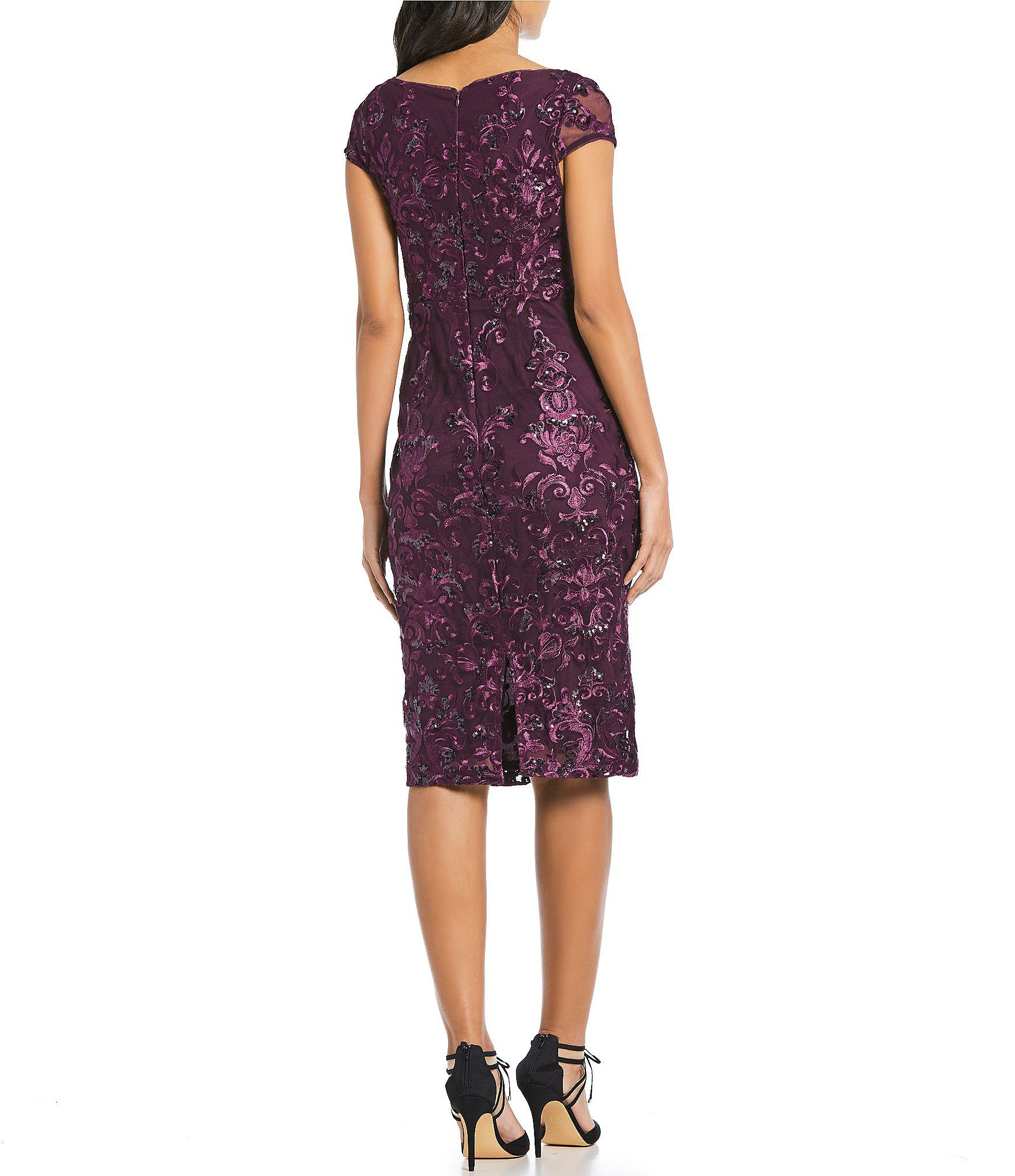 a1dff253d3 Marina Cap Sleeve Embroidered Sequin Lace Sheath Dress in Purple - Lyst
