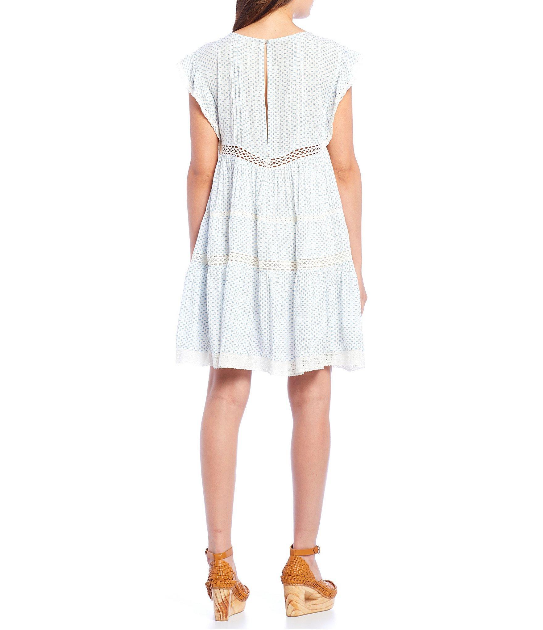 d88c353aca45 Free People - White Retro Kitty Crochet Detail Cap Sleeve Dress - Lyst.  View fullscreen