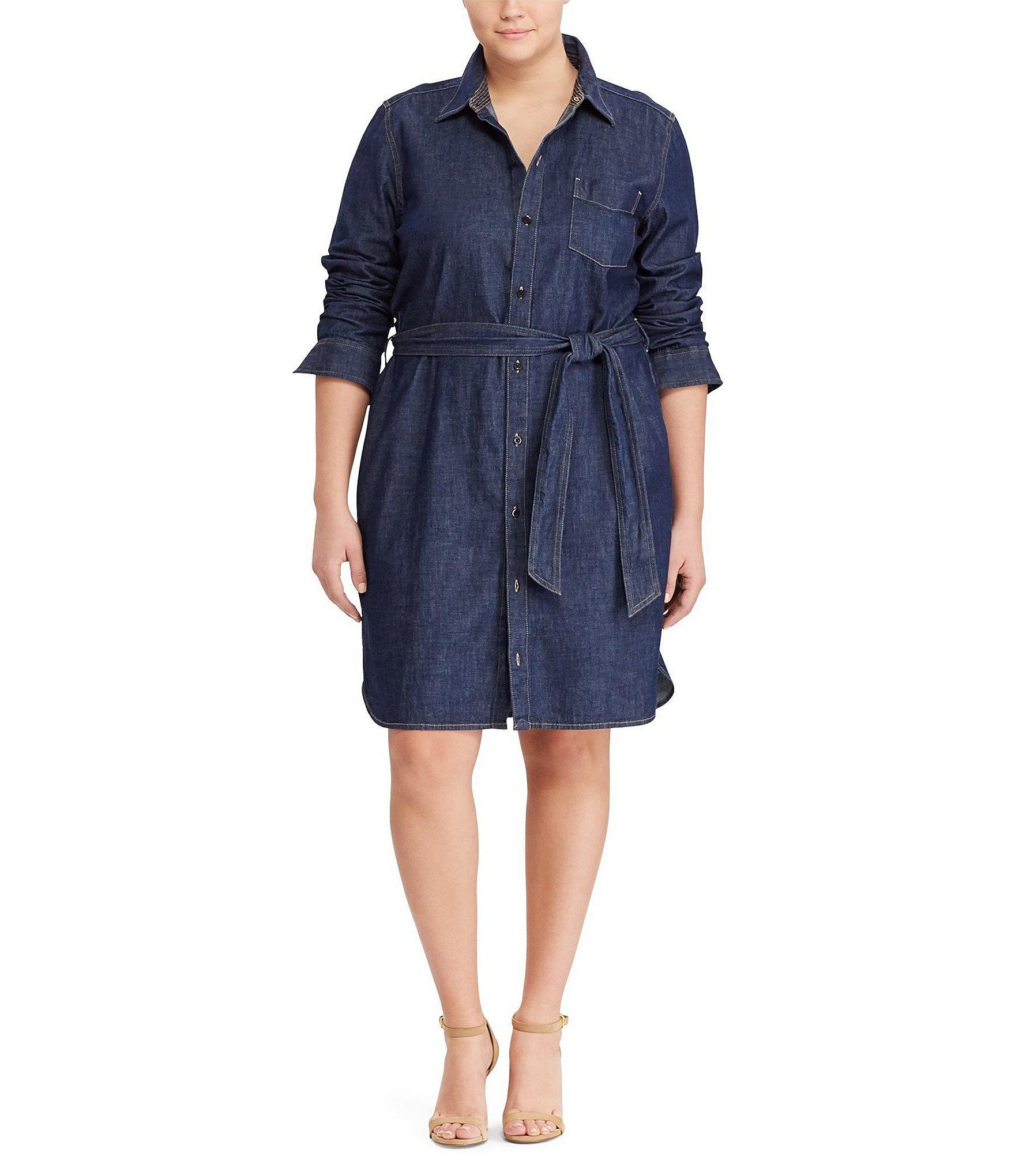 cba75fe0951 Lyst - Lauren By Ralph Lauren Plus Denim Shirt Dress in Blue