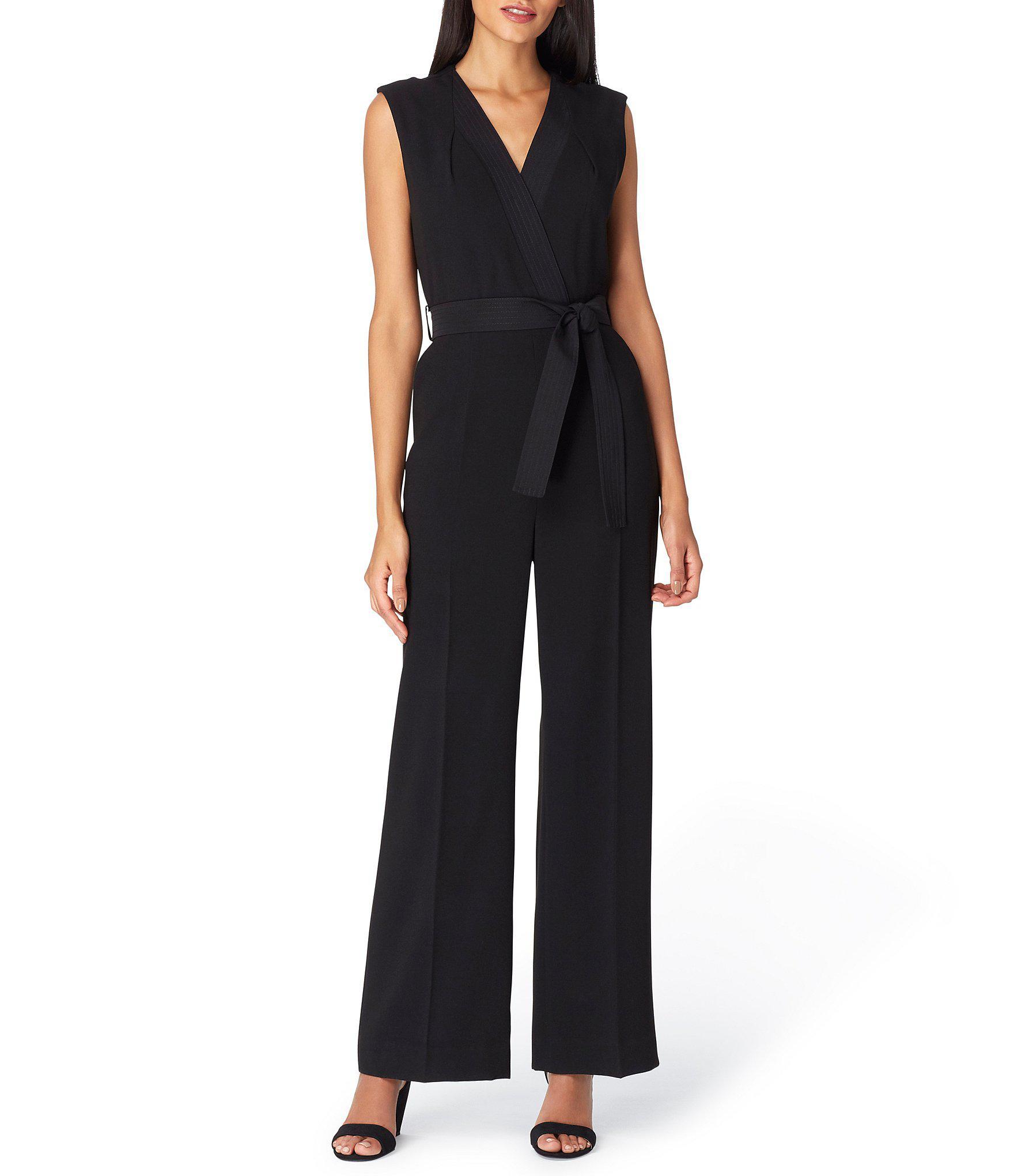 b61419576dc3 Lyst - Tahari Faux Wrap Crepe Jumpsuit in Black