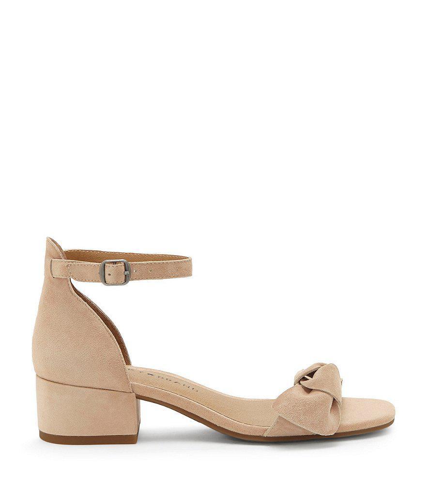 Lucky Brand Noliviah Suede Ankle Strap Block Heel Sandals gbbB2DFGD