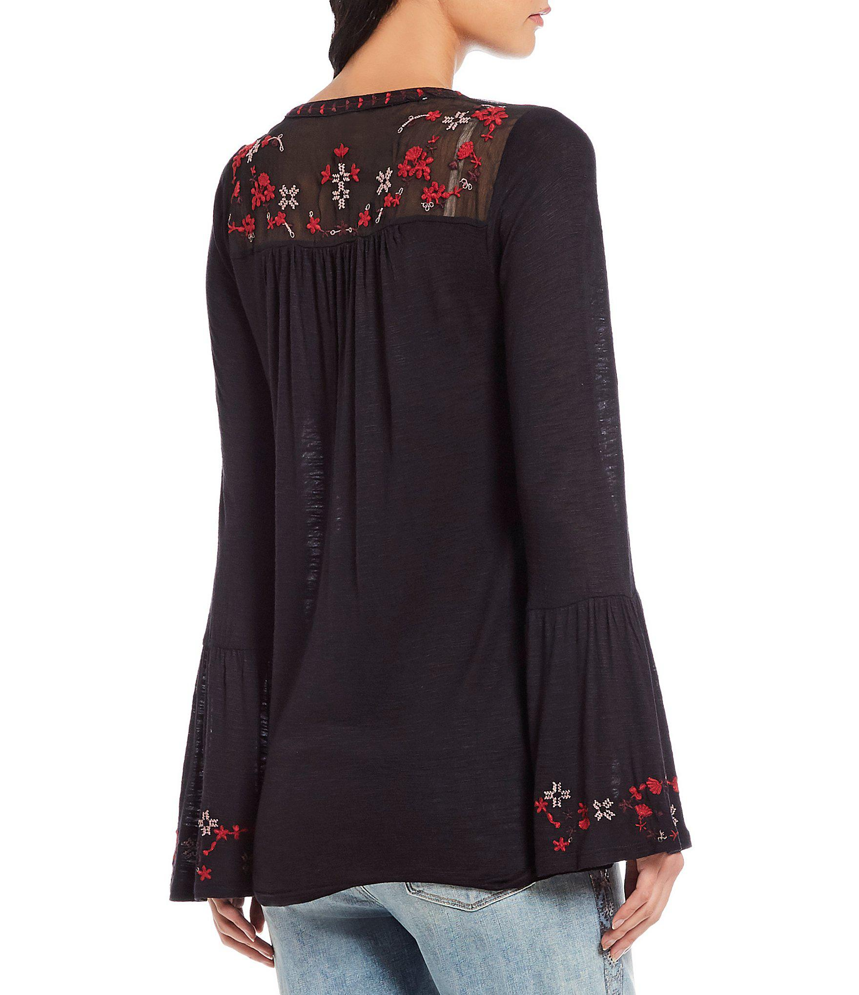 59e565f244e2 Lucky Brand - Black Floral Embroidered Yoke Top - Lyst. View fullscreen