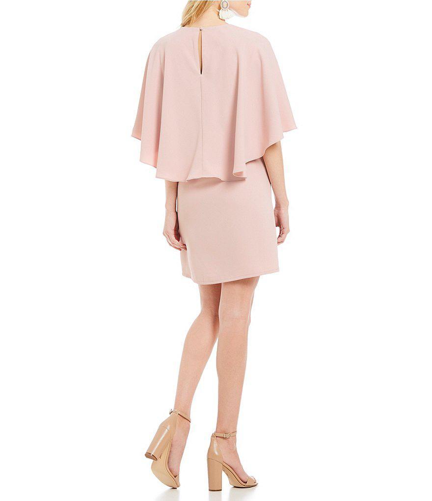 5f8500147e Sugarlips Cape Sleeve Shift Dress in Purple - Lyst